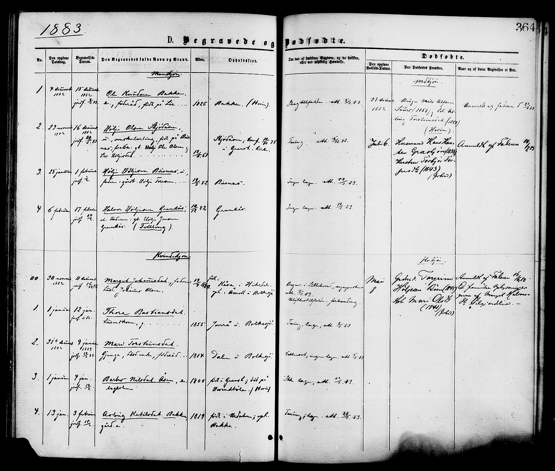 SAKO, Gransherad kirkebøker, F/Fa/L0004: Ministerialbok nr. I 4, 1871-1886, s. 364