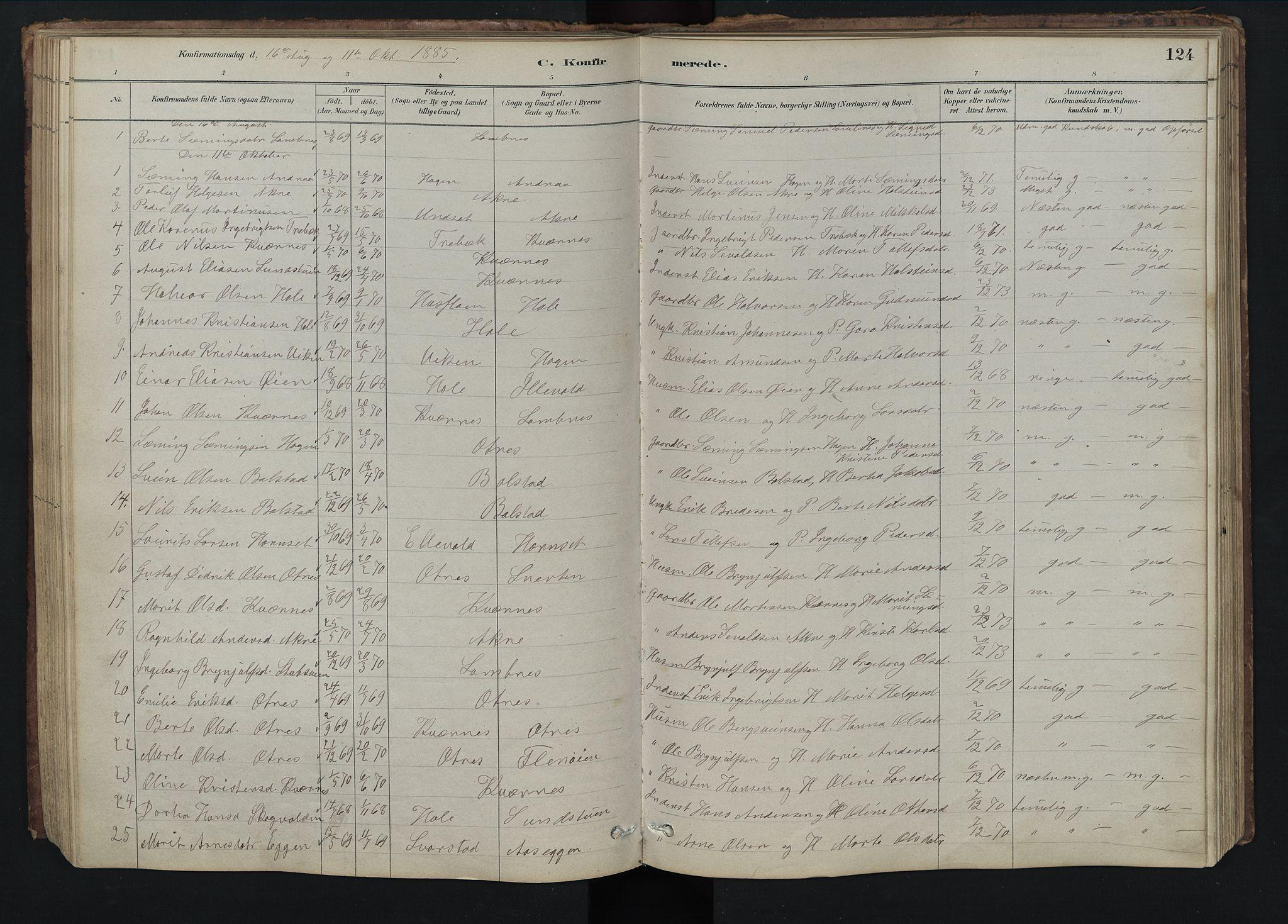 SAH, Rendalen prestekontor, H/Ha/Hab/L0009: Klokkerbok nr. 9, 1879-1902, s. 124
