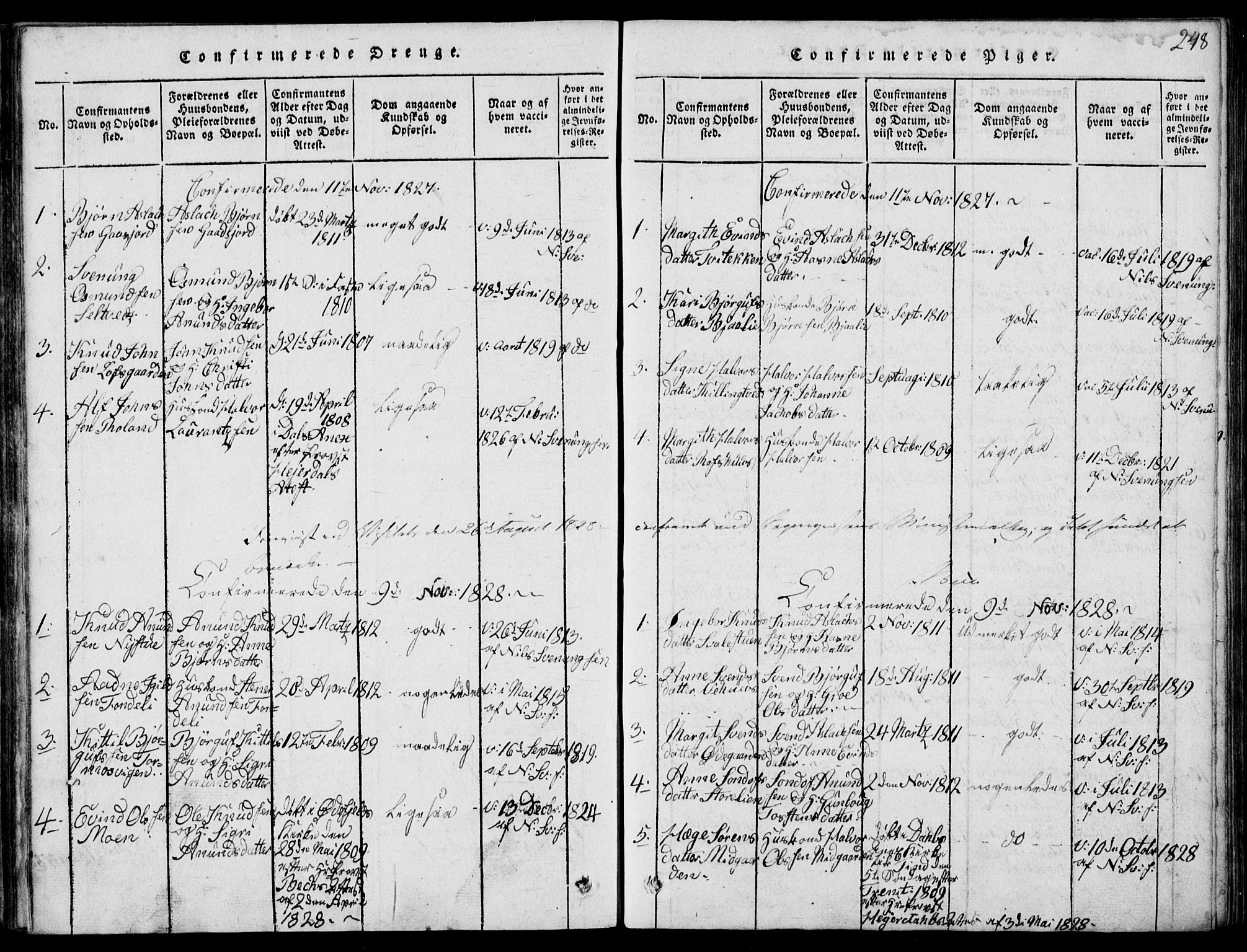SAKO, Rauland kirkebøker, G/Ga/L0001: Klokkerbok nr. I 1, 1814-1843, s. 248