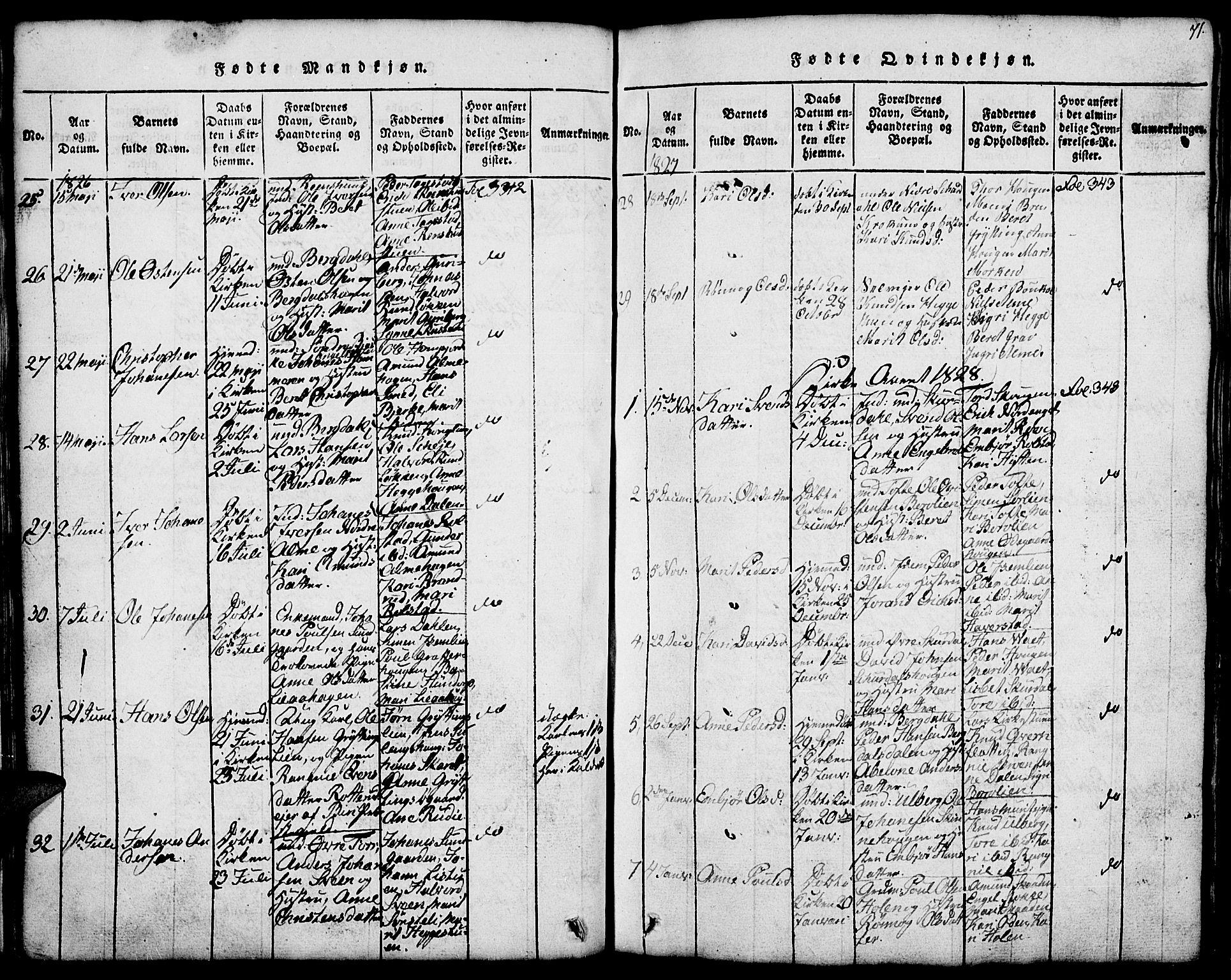 SAH, Fron prestekontor, H/Ha/Hab/L0001: Klokkerbok nr. 1, 1816-1843, s. 71