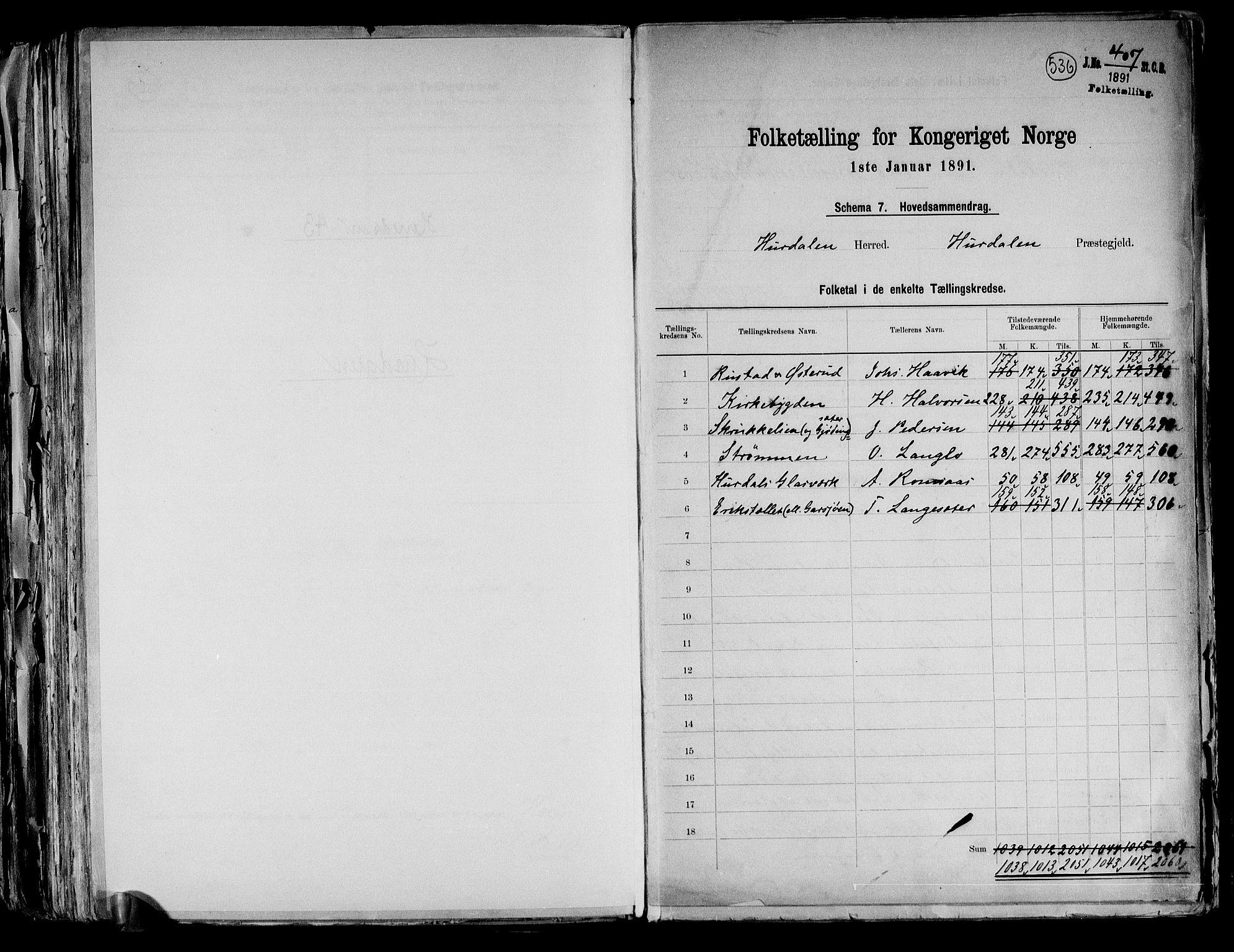 RA, Folketelling 1891 for 0239 Hurdal herred, 1891, s. 2