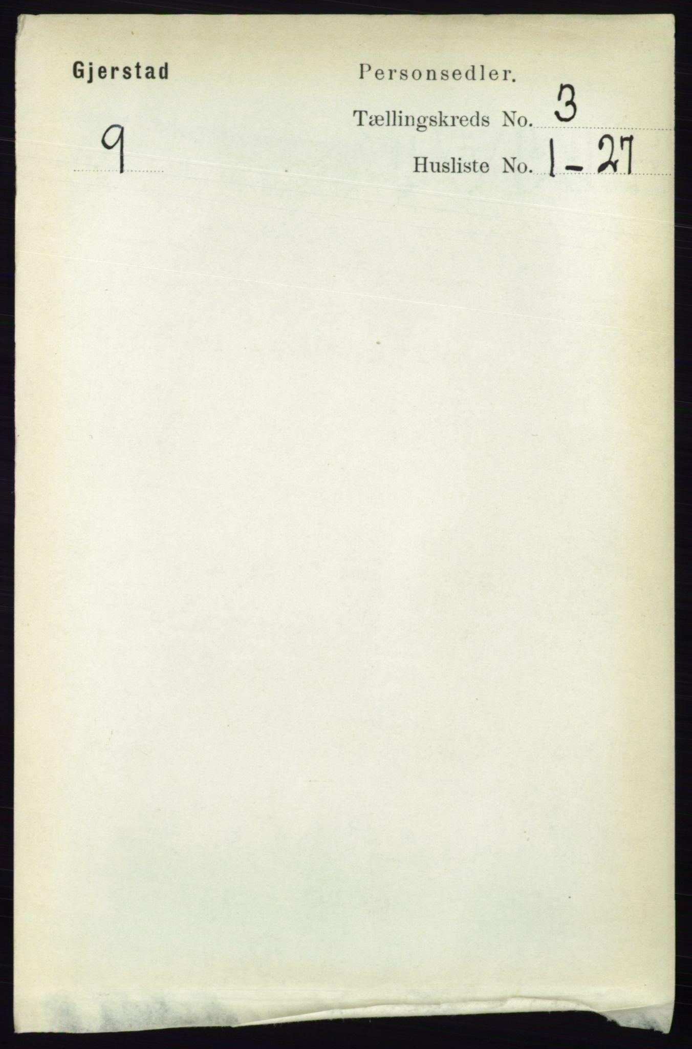 RA, Folketelling 1891 for 0911 Gjerstad herred, 1891, s. 1054