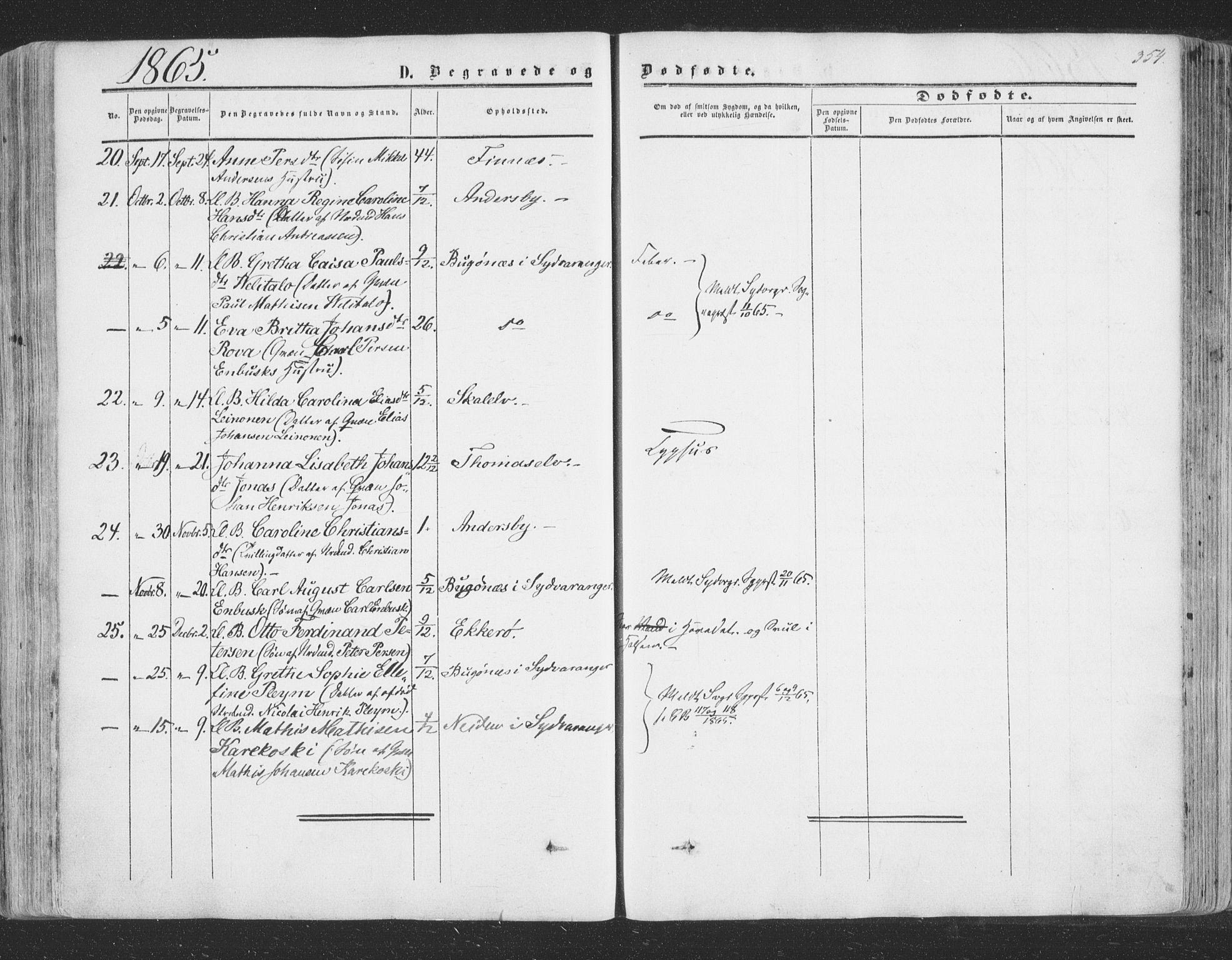 SATØ, Vadsø soknepreskontor, H/Ha/L0004kirke: Ministerialbok nr. 4, 1854-1880, s. 354