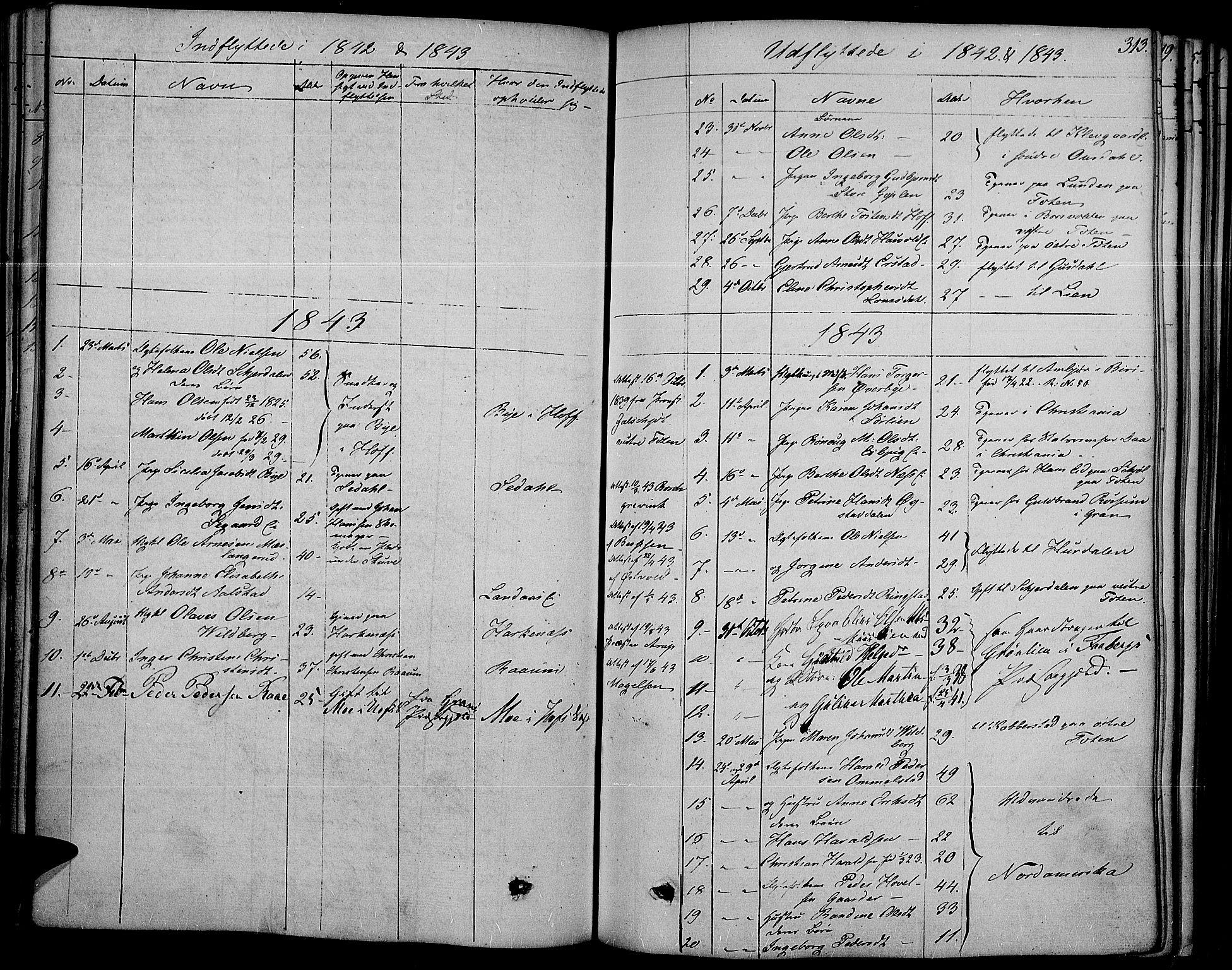 SAH, Land prestekontor, Ministerialbok nr. 8, 1830-1846, s. 313