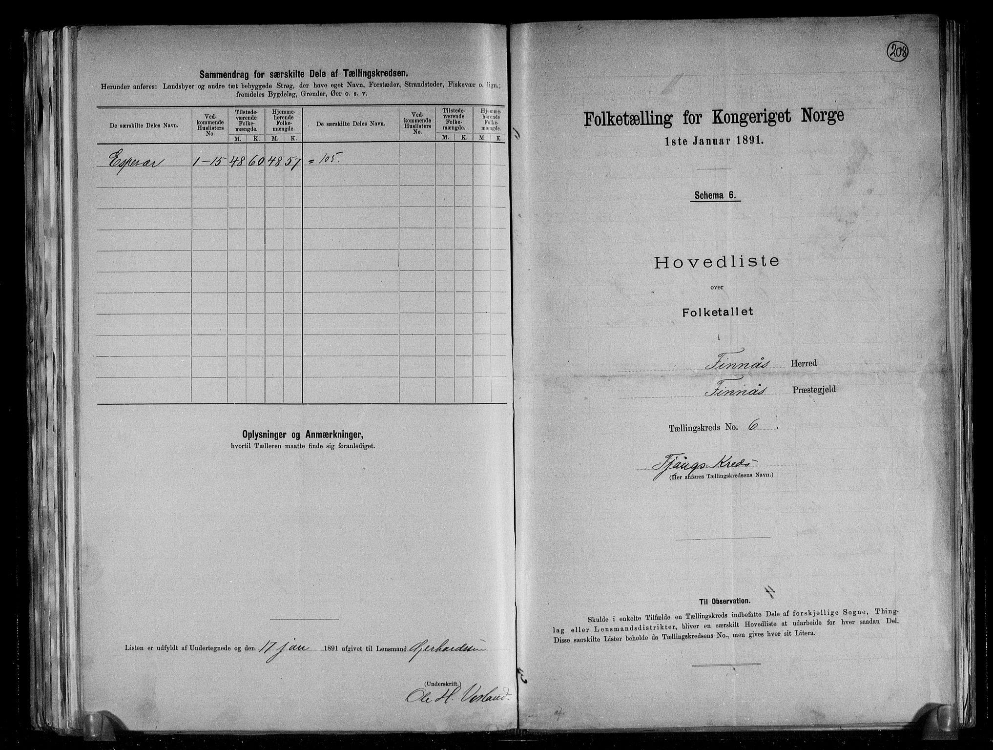 RA, Folketelling 1891 for 1218 Finnås herred, 1891, s. 16