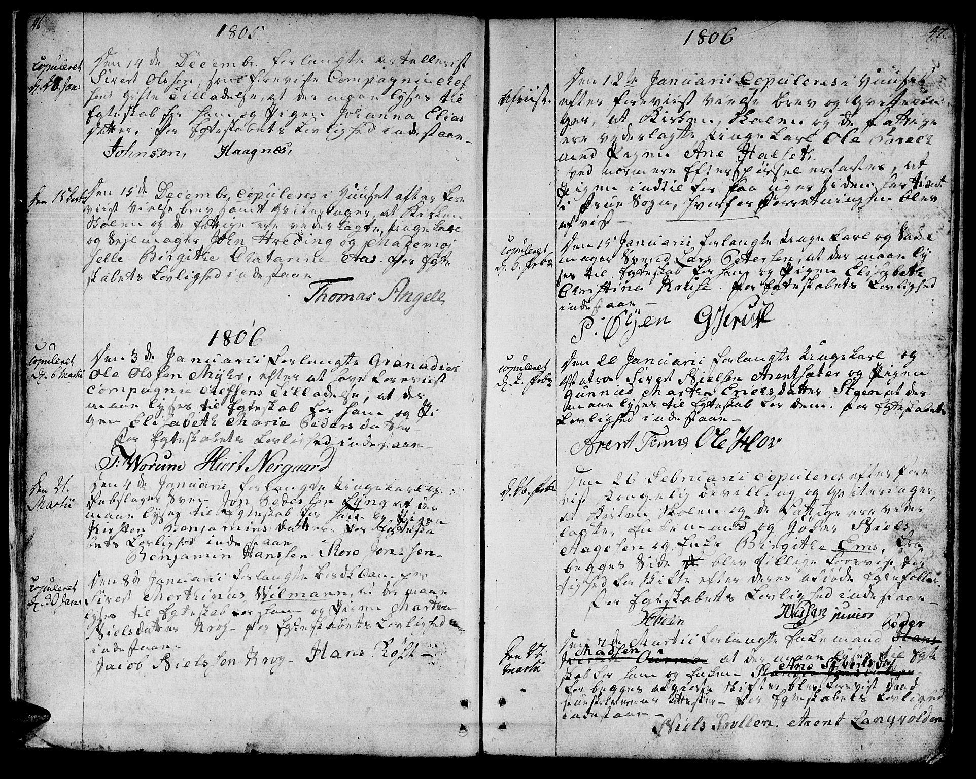 SAT, Ministerialprotokoller, klokkerbøker og fødselsregistre - Sør-Trøndelag, 601/L0042: Ministerialbok nr. 601A10, 1802-1830, s. 46-47