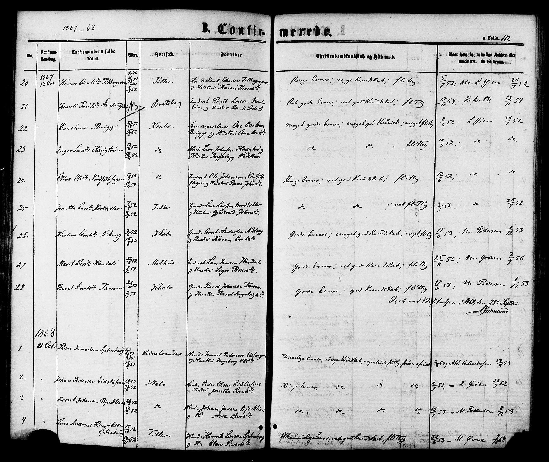 SAT, Ministerialprotokoller, klokkerbøker og fødselsregistre - Sør-Trøndelag, 618/L0442: Ministerialbok nr. 618A06 /1, 1863-1879, s. 112