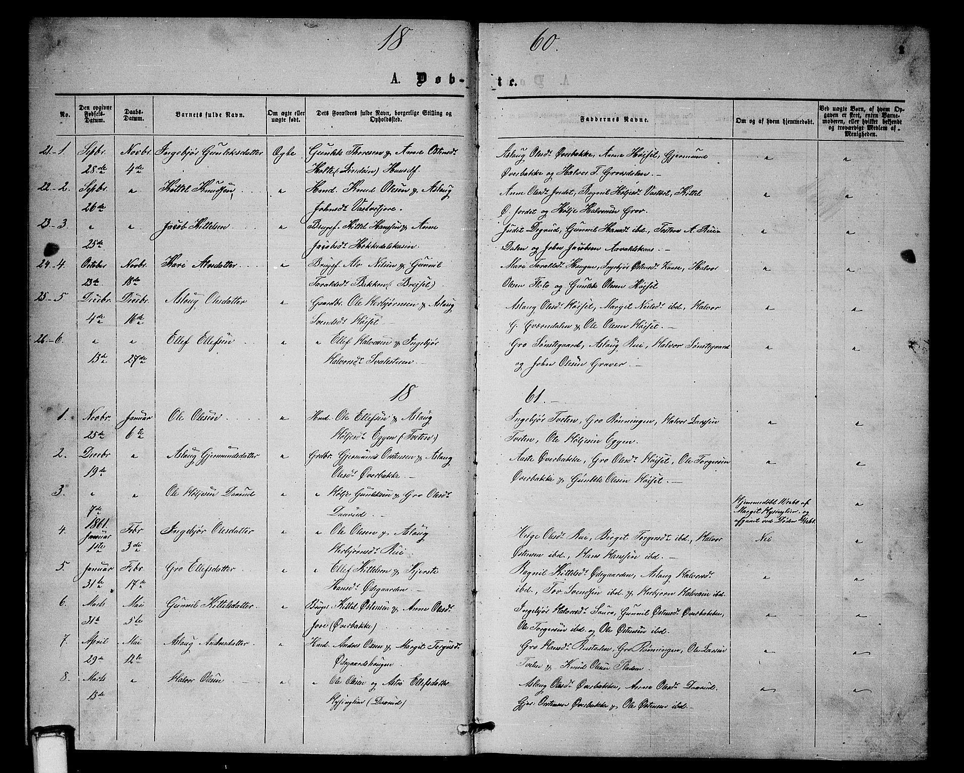 SAKO, Gransherad kirkebøker, G/Gb/L0002: Klokkerbok nr. II 2, 1860-1886, s. 1