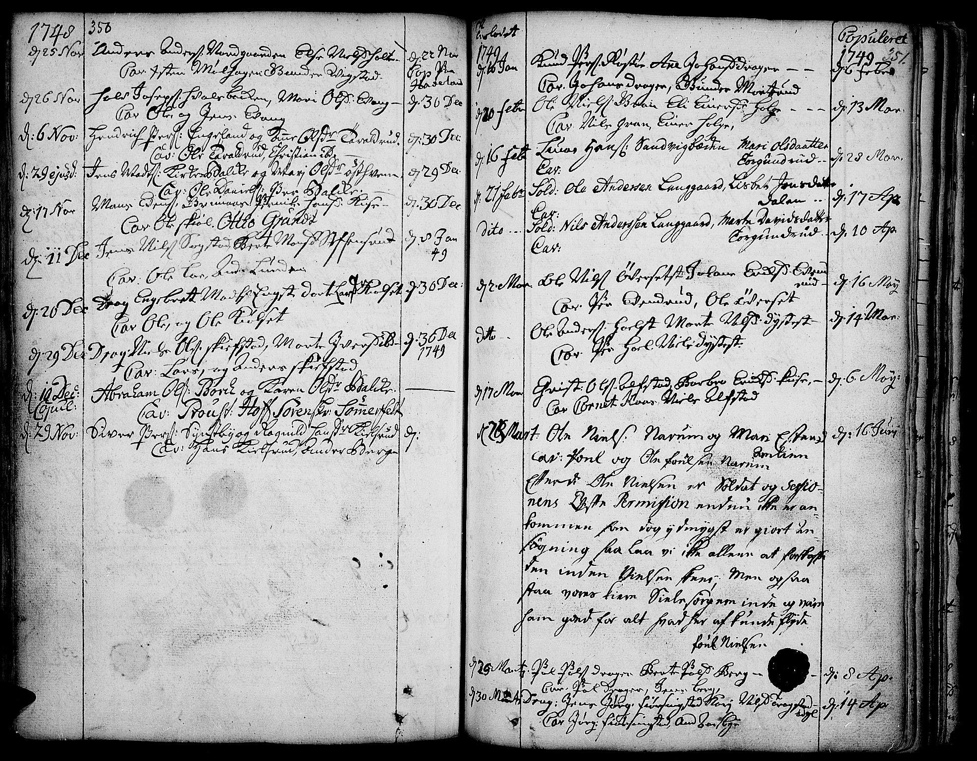 SAH, Toten prestekontor, Ministerialbok nr. 3, 1734-1751, s. 350-351