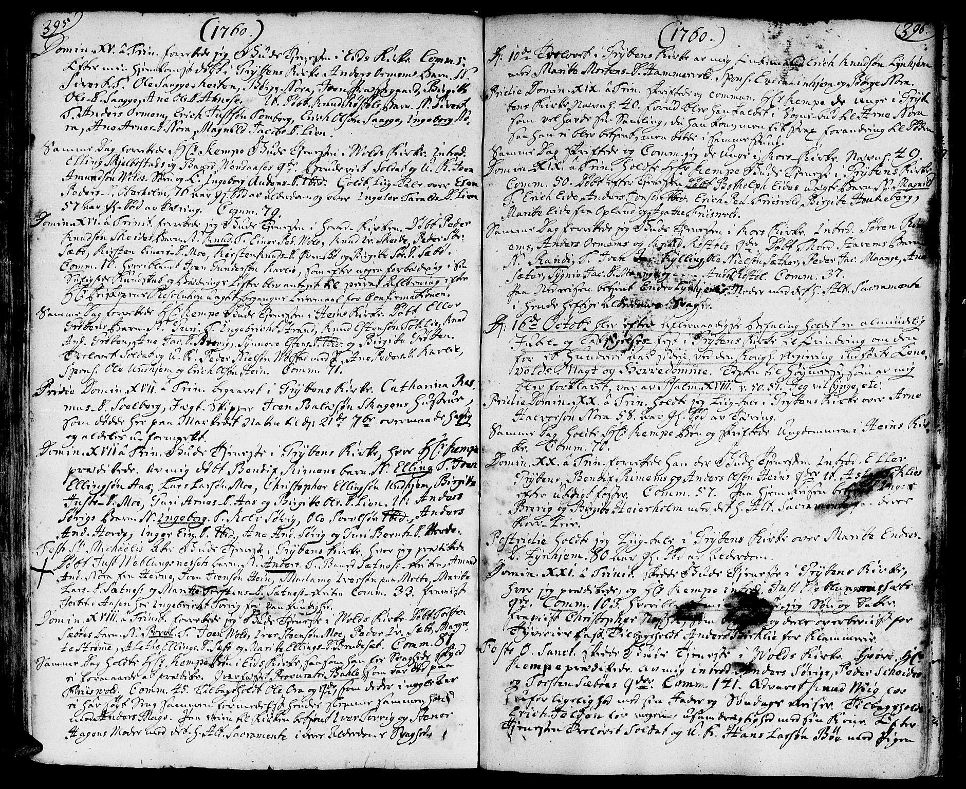SAT, Ministerialprotokoller, klokkerbøker og fødselsregistre - Møre og Romsdal, 544/L0568: Ministerialbok nr. 544A01, 1725-1763, s. 395-396