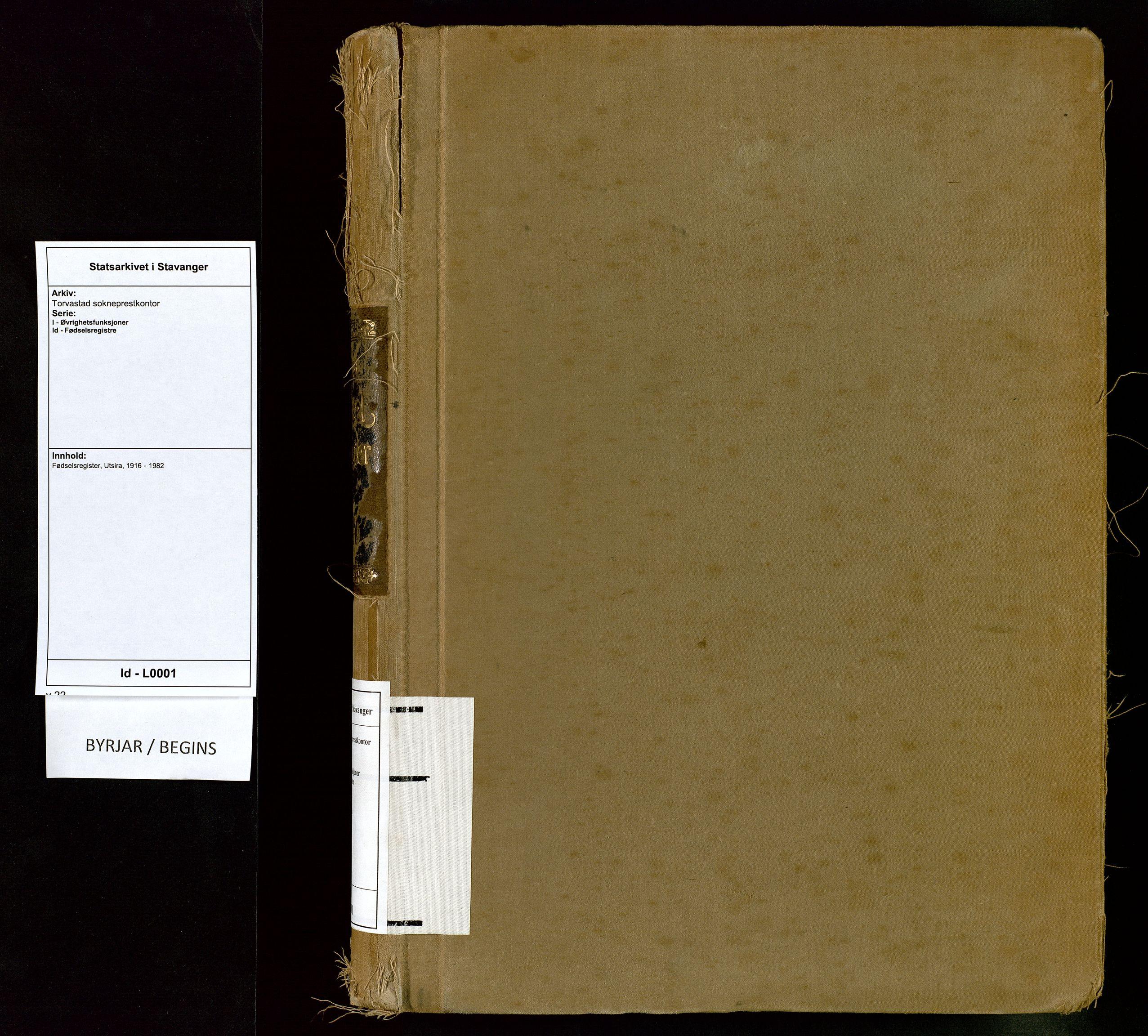 SAST, Torvastad sokneprestkontor, I/Id/L0001: Fødselsregister nr. 1, 1916-1982