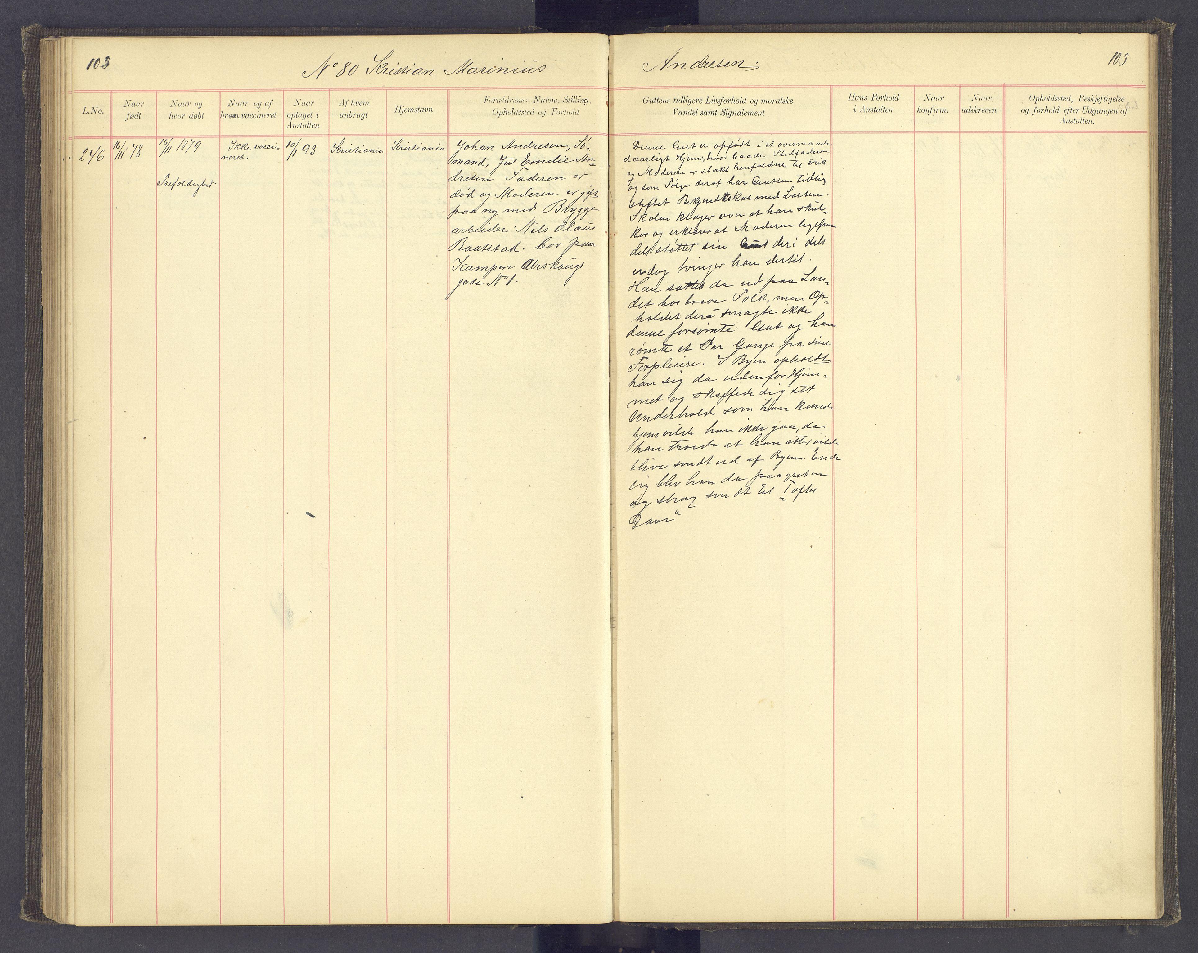 SAH, Toftes Gave, F/Fc/L0004: Elevprotokoll, 1885-1897, s. 105