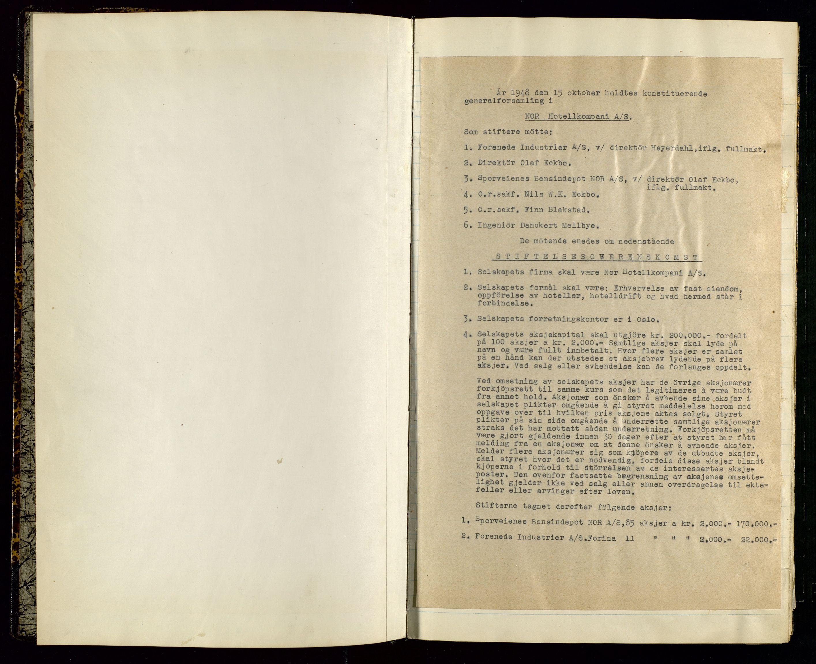 SAST, PA 1516 - Nor Hotellkompani A/S, A/L0001: Referatprotokoll, 1948-1855, s. 2