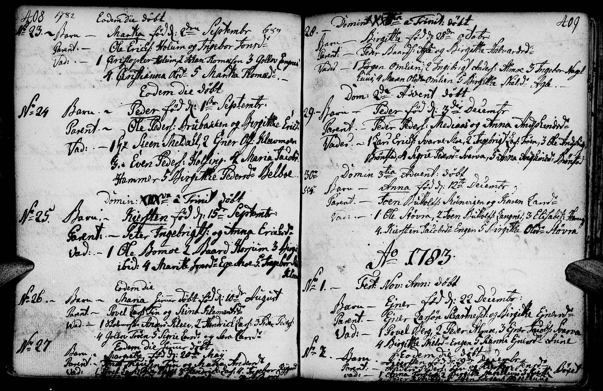 SAT, Ministerialprotokoller, klokkerbøker og fødselsregistre - Nord-Trøndelag, 749/L0467: Ministerialbok nr. 749A01, 1733-1787, s. 408-409