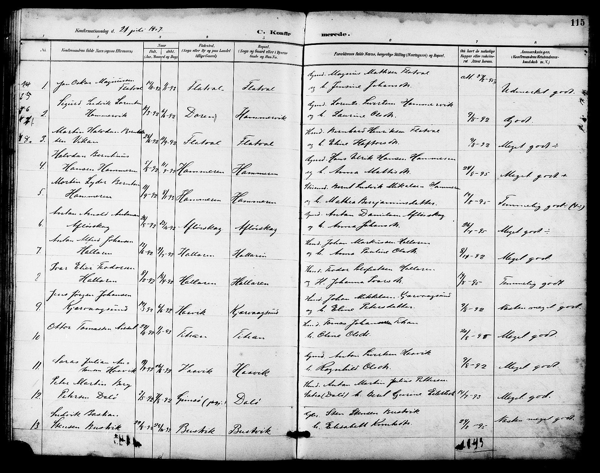 SAT, Ministerialprotokoller, klokkerbøker og fødselsregistre - Sør-Trøndelag, 641/L0598: Klokkerbok nr. 641C02, 1893-1910, s. 115