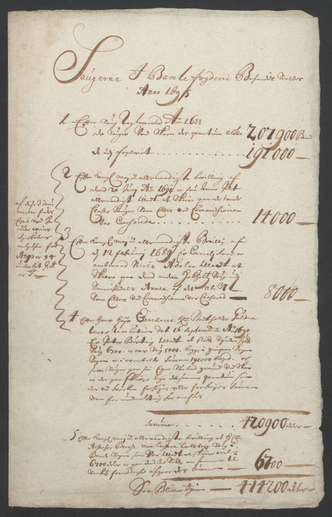 RA, Rentekammeret inntil 1814, Reviderte regnskaper, Fogderegnskap, R36/L2093: Fogderegnskap Øvre og Nedre Telemark og Bamble, 1695, s. 446