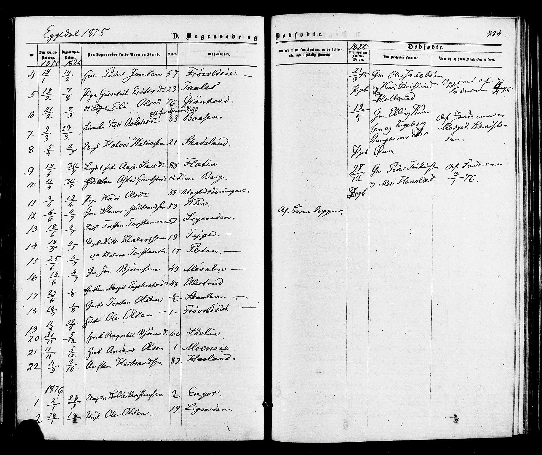 SAKO, Sigdal kirkebøker, F/Fa/L0010: Ministerialbok nr. I 10 /3, 1872-1878, s. 434