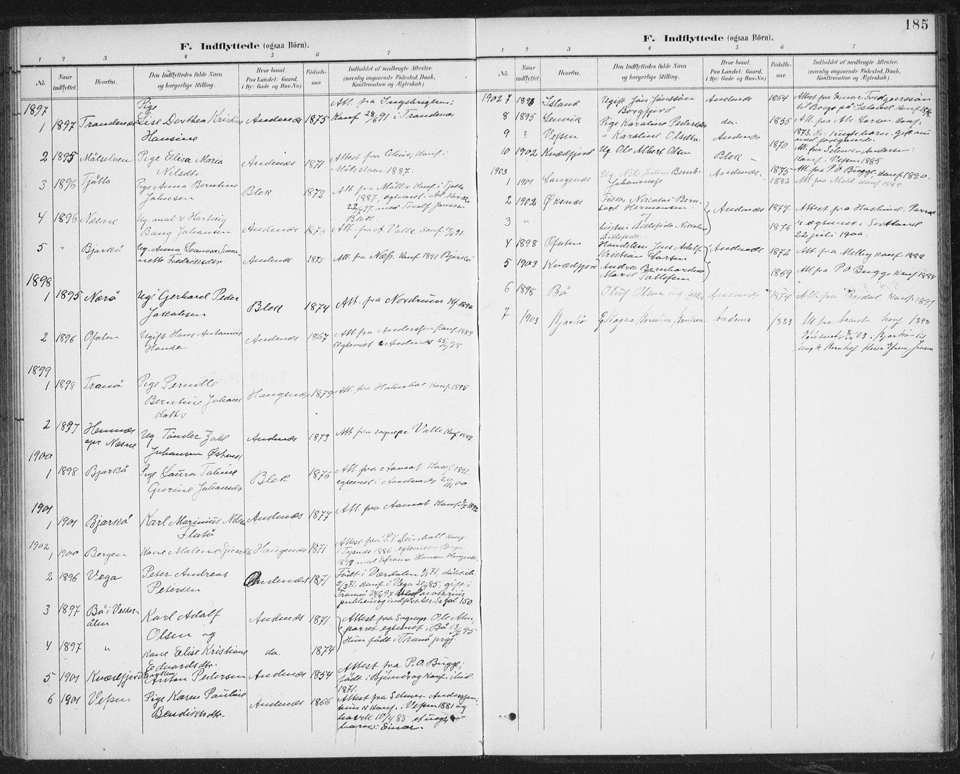 SAT, Ministerialprotokoller, klokkerbøker og fødselsregistre - Nordland, 899/L1437: Ministerialbok nr. 899A05, 1897-1908, s. 185