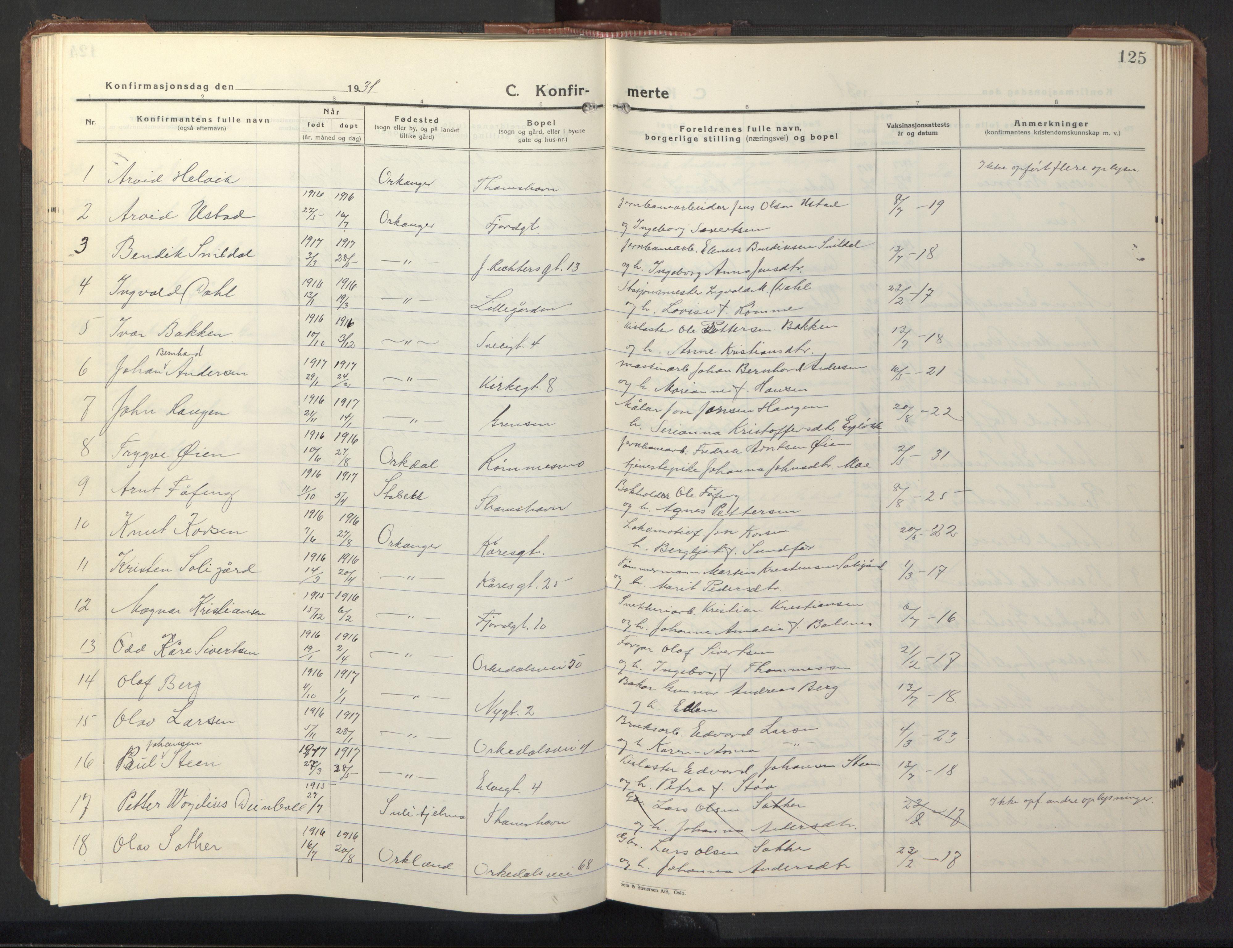 SAT, Ministerialprotokoller, klokkerbøker og fødselsregistre - Sør-Trøndelag, 669/L0832: Klokkerbok nr. 669C02, 1925-1953, s. 125