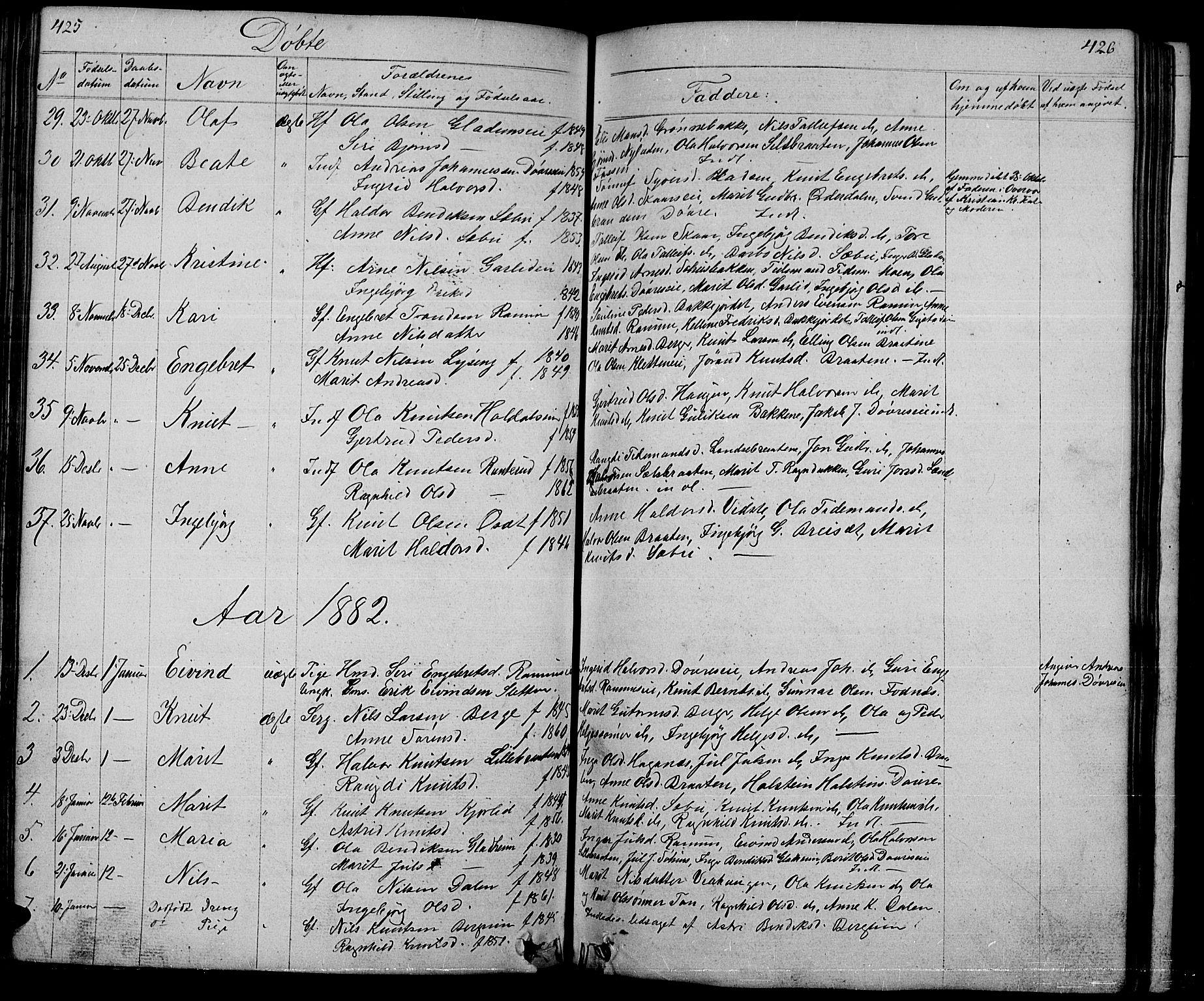 SAH, Nord-Aurdal prestekontor, Klokkerbok nr. 1, 1834-1887, s. 425-426
