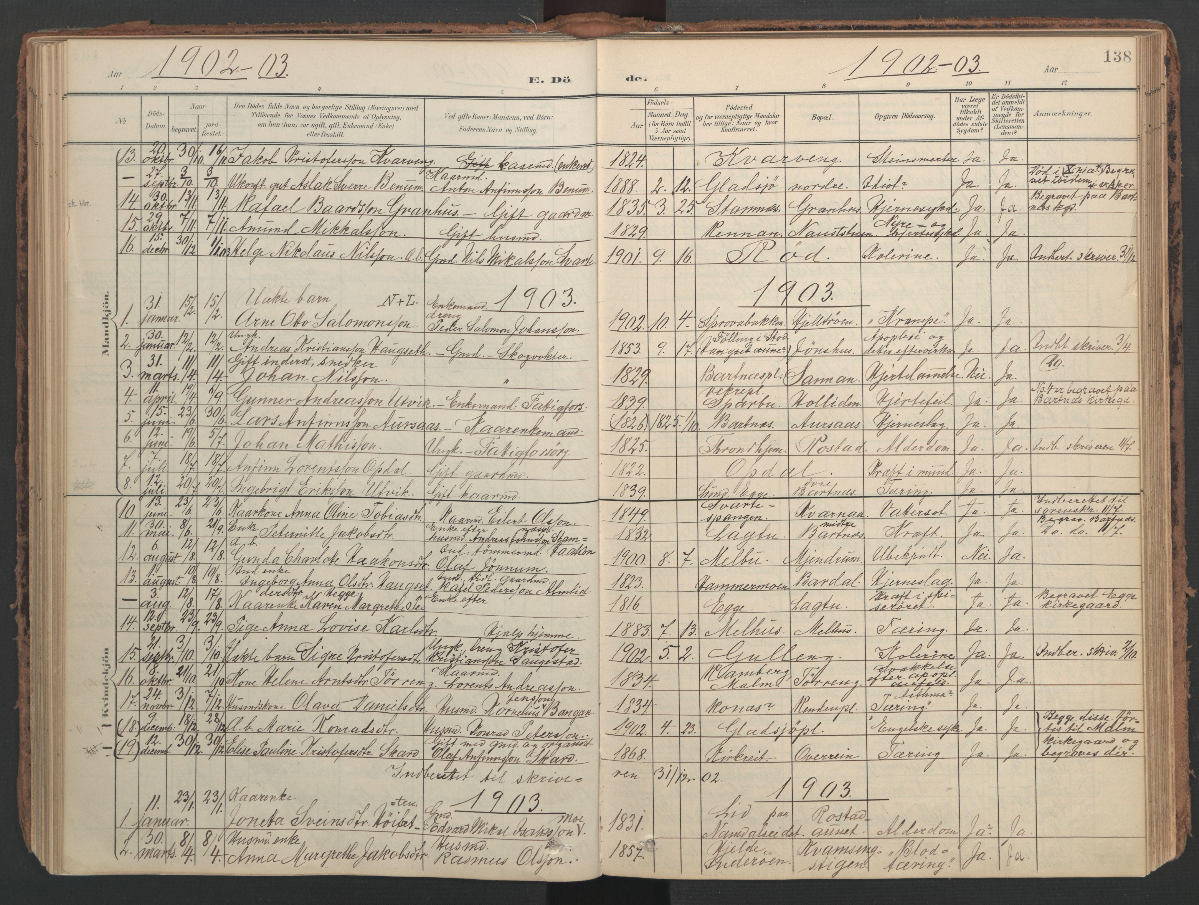 SAT, Ministerialprotokoller, klokkerbøker og fødselsregistre - Nord-Trøndelag, 741/L0397: Ministerialbok nr. 741A11, 1901-1911, s. 138