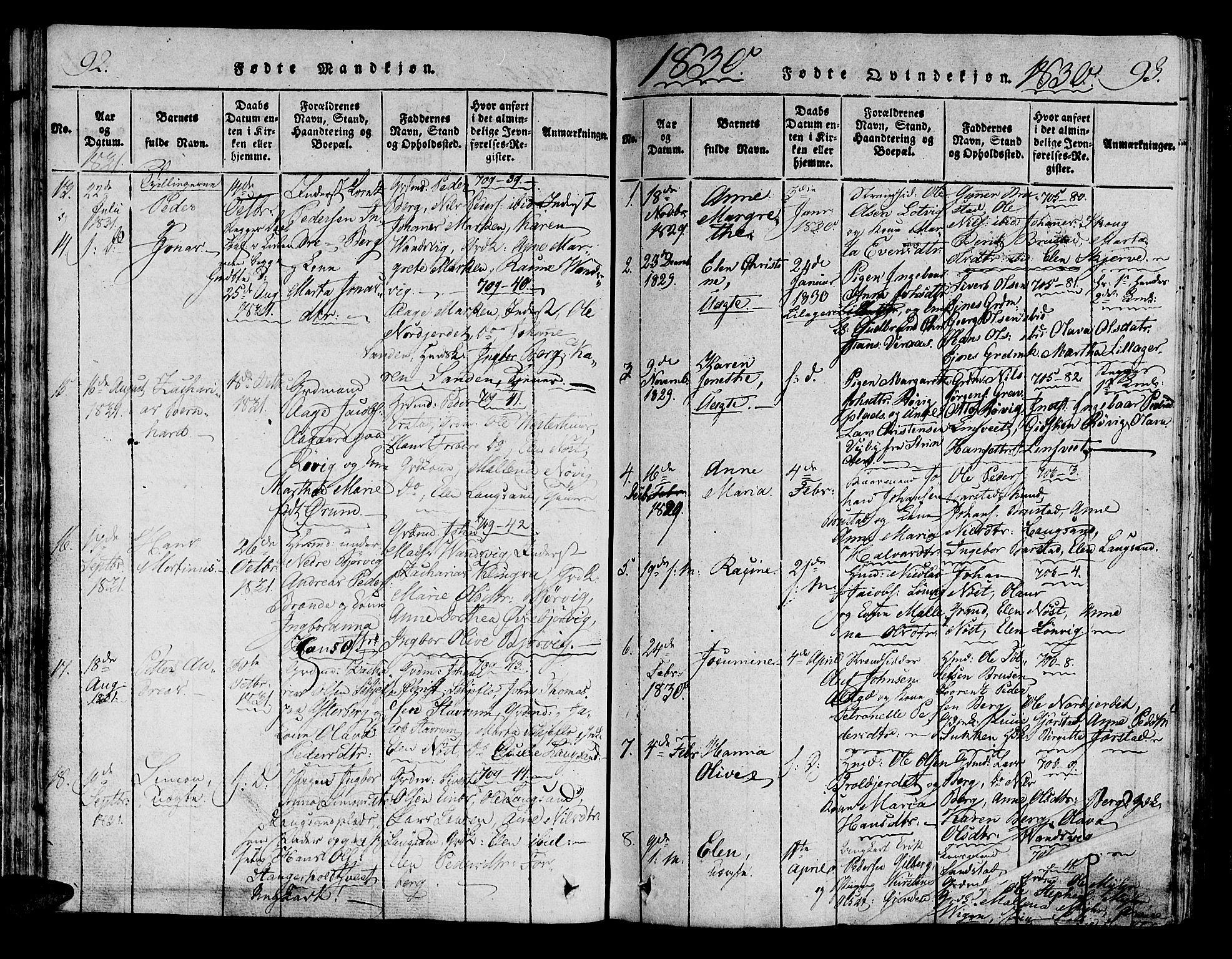 SAT, Ministerialprotokoller, klokkerbøker og fødselsregistre - Nord-Trøndelag, 722/L0217: Ministerialbok nr. 722A04, 1817-1842, s. 92-93