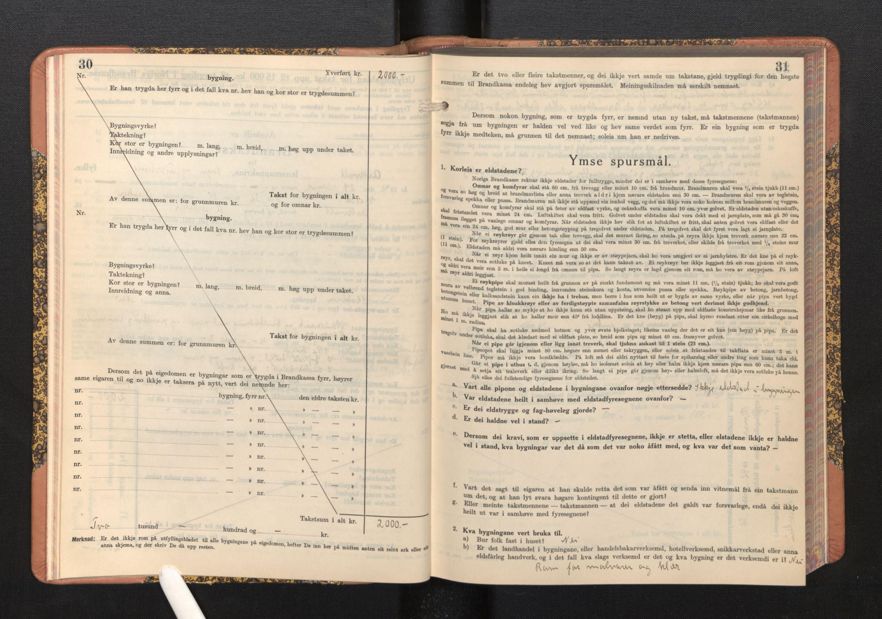 SAB, Lensmannen i Askvoll, 0012/L0005: Branntakstprotokoll, skjematakst, 1940-1949, s. 30-31
