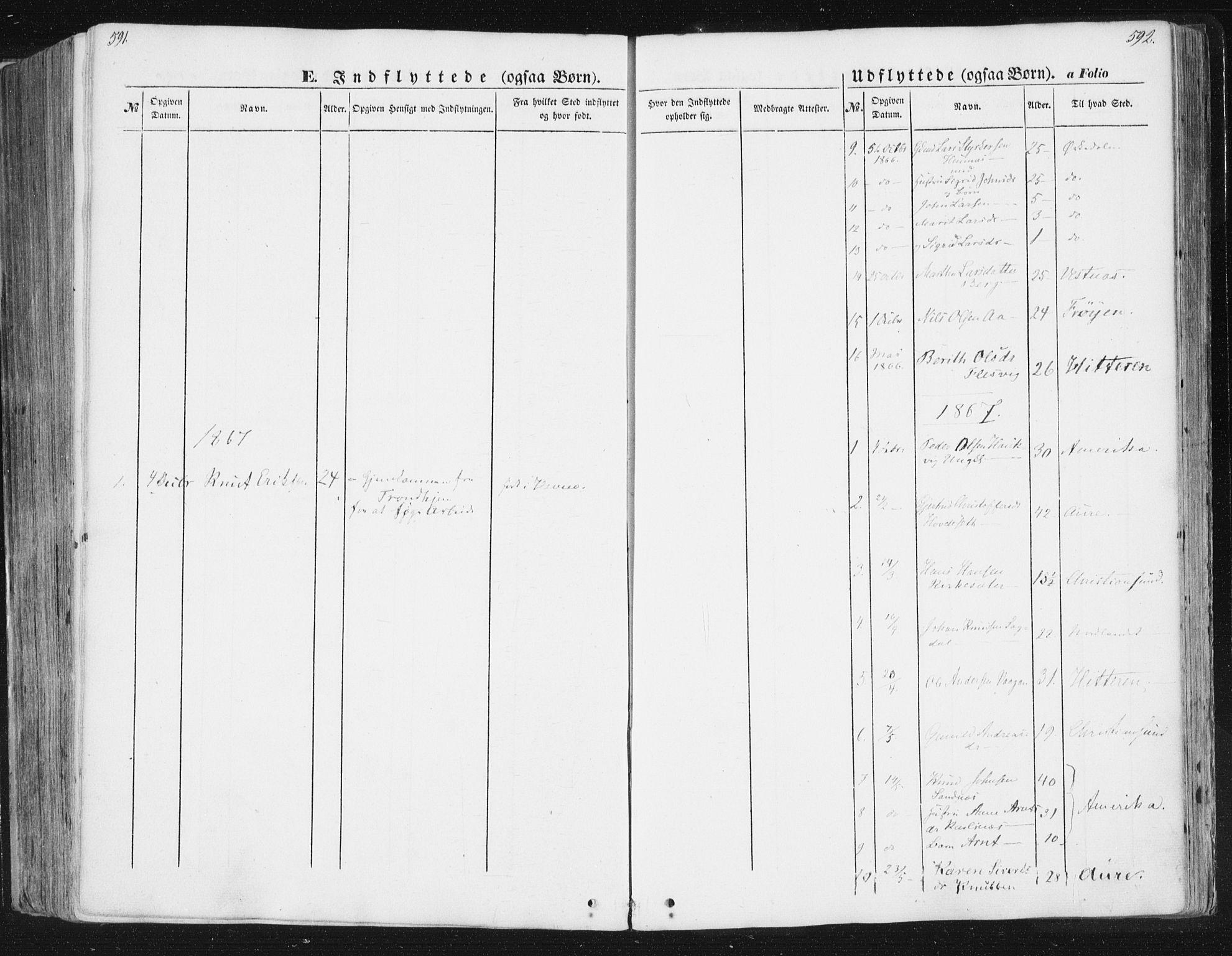 SAT, Ministerialprotokoller, klokkerbøker og fødselsregistre - Sør-Trøndelag, 630/L0494: Ministerialbok nr. 630A07, 1852-1868, s. 591-592