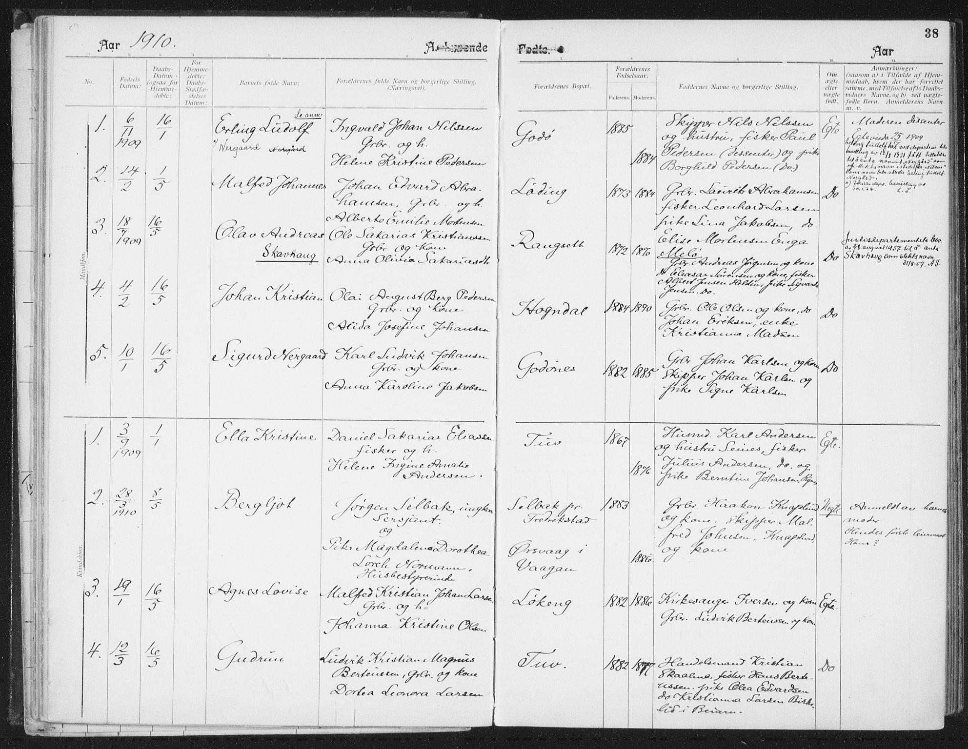 SAT, Ministerialprotokoller, klokkerbøker og fødselsregistre - Nordland, 804/L0081: Ministerialbok nr. 804A02, 1901-1915, s. 38