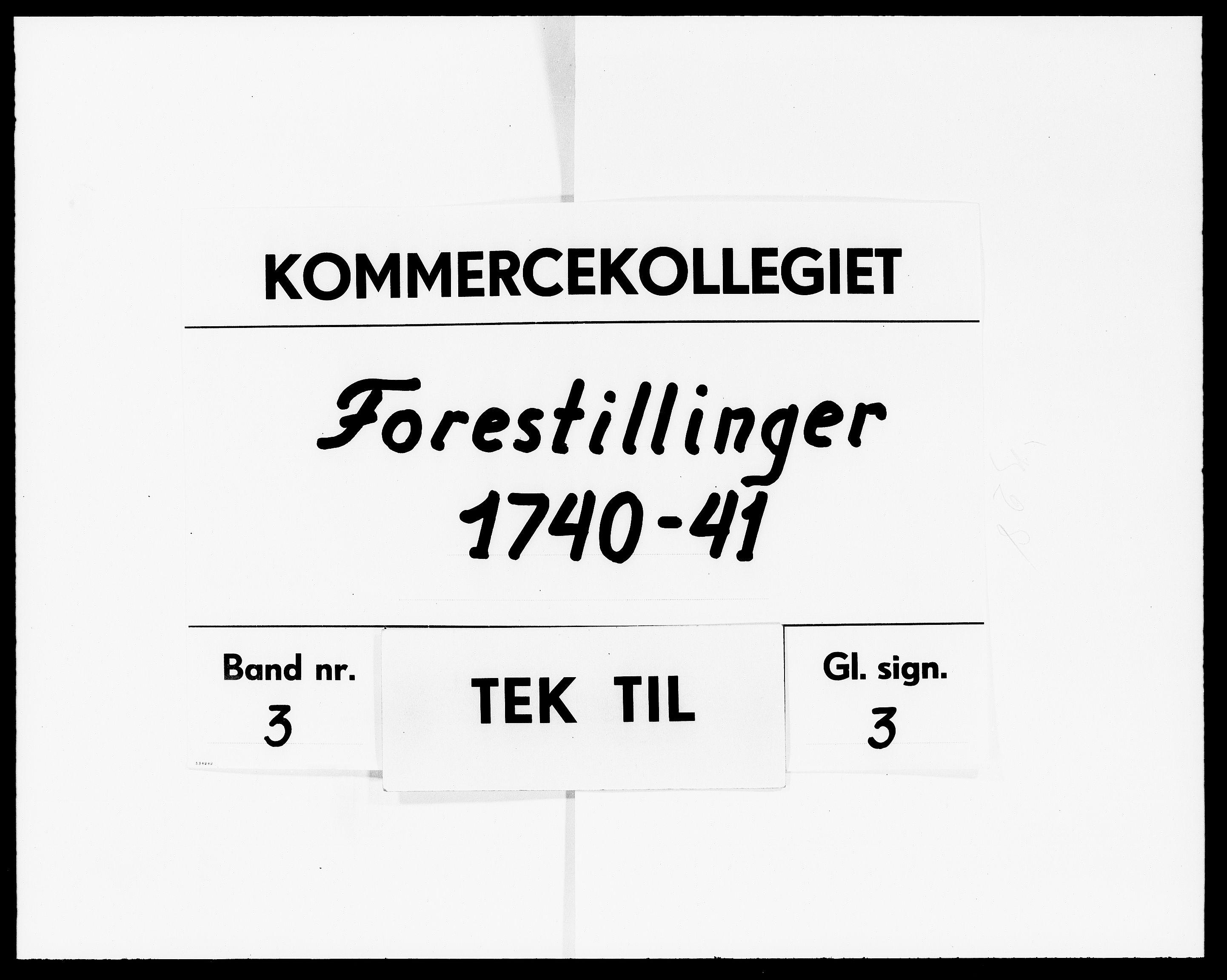DRA, Kommercekollegiet, Dansk-Norske Sekretariat (1736-1771) / Kommercedeputationen (1771-1773), -/003: Forestillinger, 1740-1741
