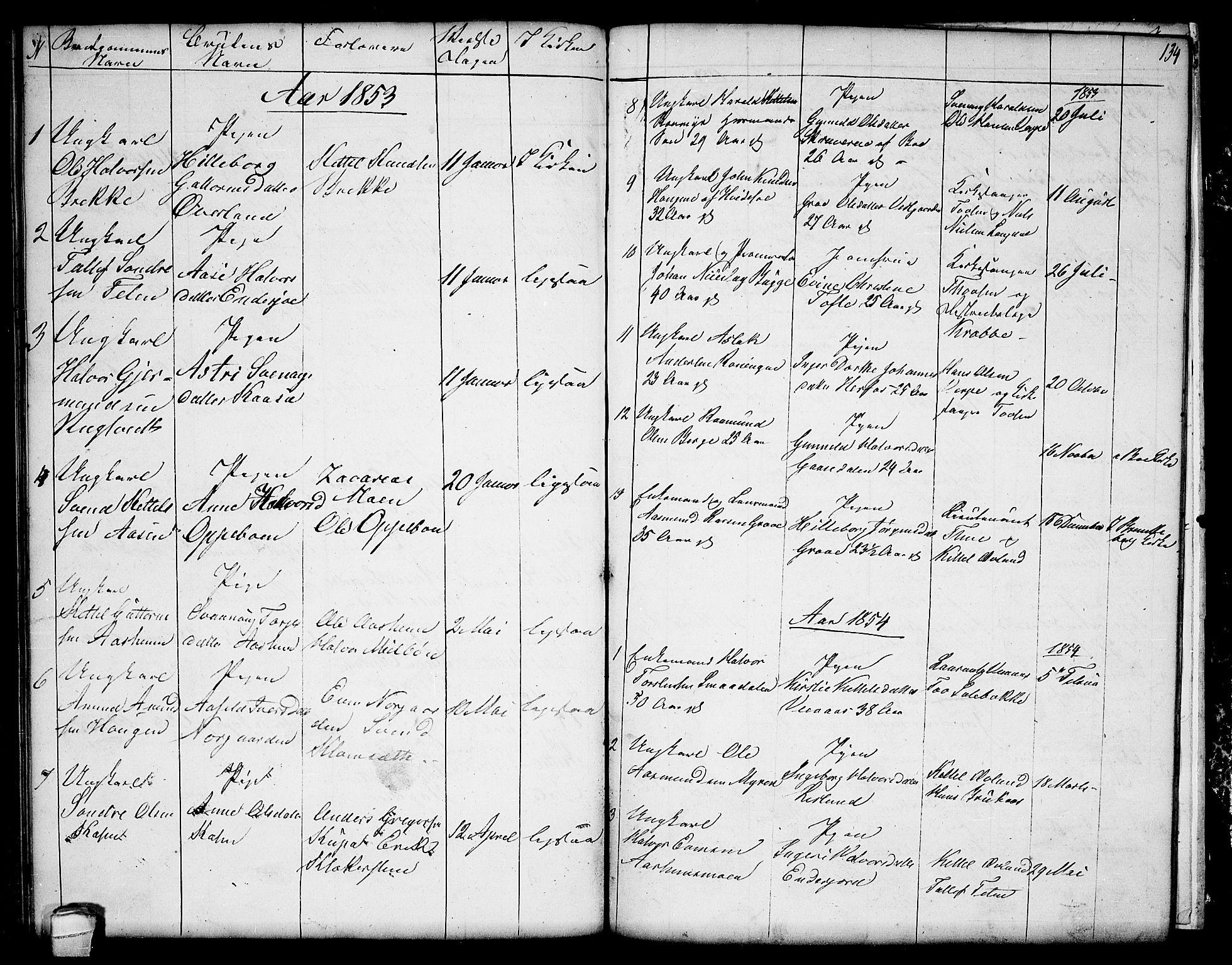 SAKO, Seljord kirkebøker, G/Ga/L0002: Klokkerbok nr. I 2, 1838-1866, s. 134