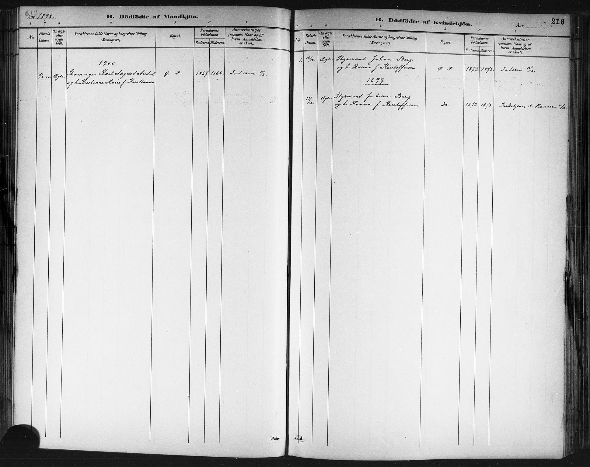SAKO, Porsgrunn kirkebøker , G/Gb/L0005: Klokkerbok nr. II 5, 1883-1915, s. 216