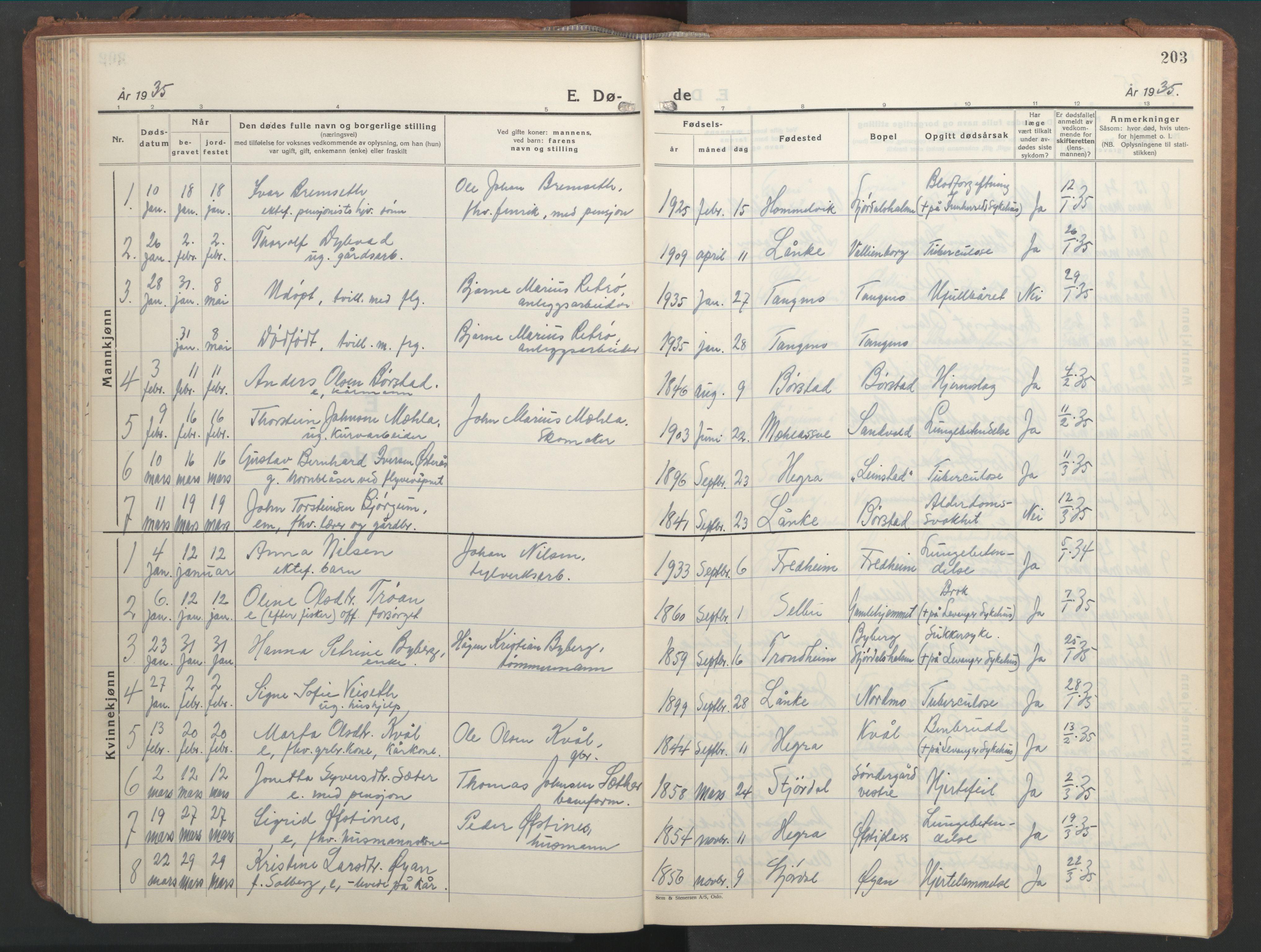 SAT, Ministerialprotokoller, klokkerbøker og fødselsregistre - Nord-Trøndelag, 709/L0089: Klokkerbok nr. 709C03, 1935-1948, s. 203