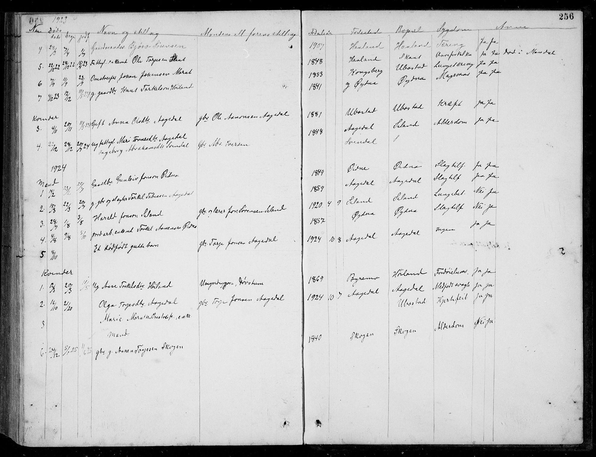SAK, Bjelland sokneprestkontor, F/Fb/Fbc/L0003: Klokkerbok nr. B 3, 1887-1924, s. 256