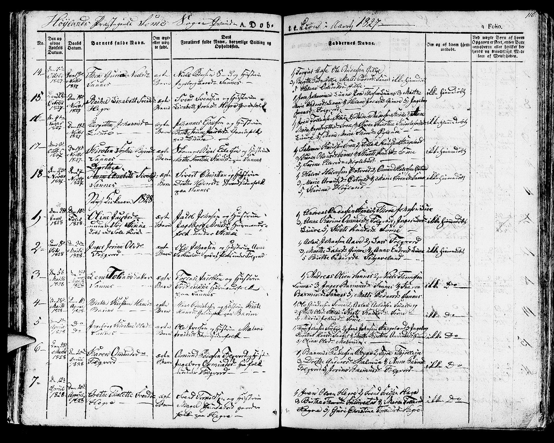 SAST, Høyland sokneprestkontor, 30BA/L0007: Ministerialbok nr. A 7 /2, 1825-1841, s. 110