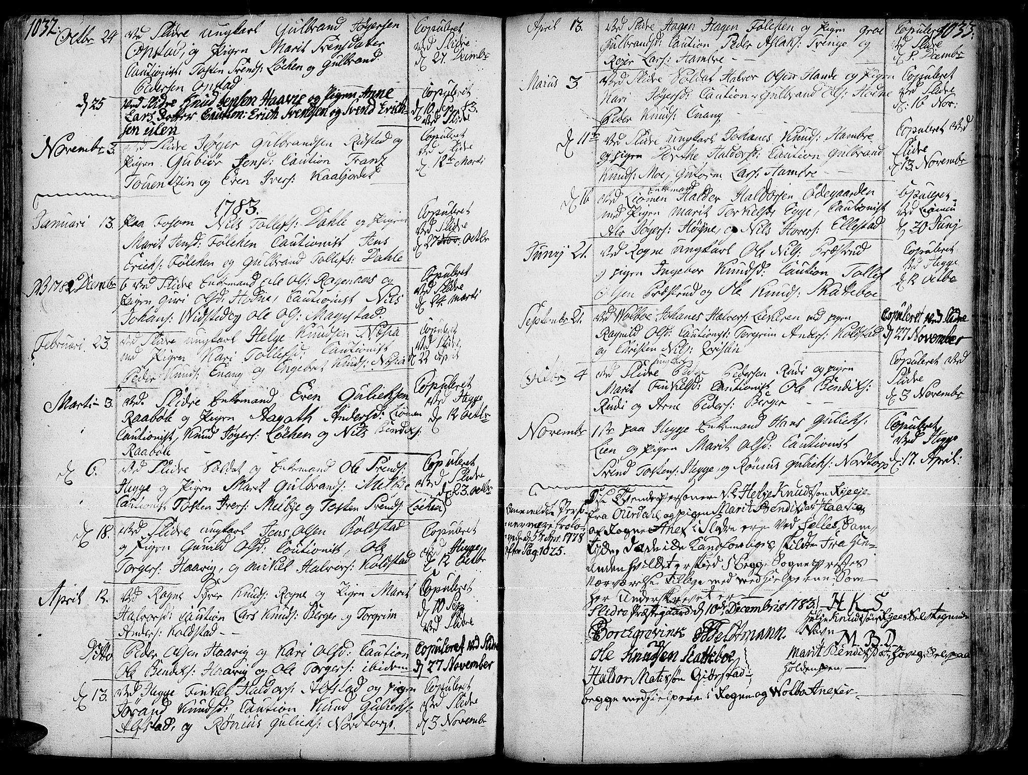 SAH, Slidre prestekontor, Ministerialbok nr. 1, 1724-1814, s. 1032-1033