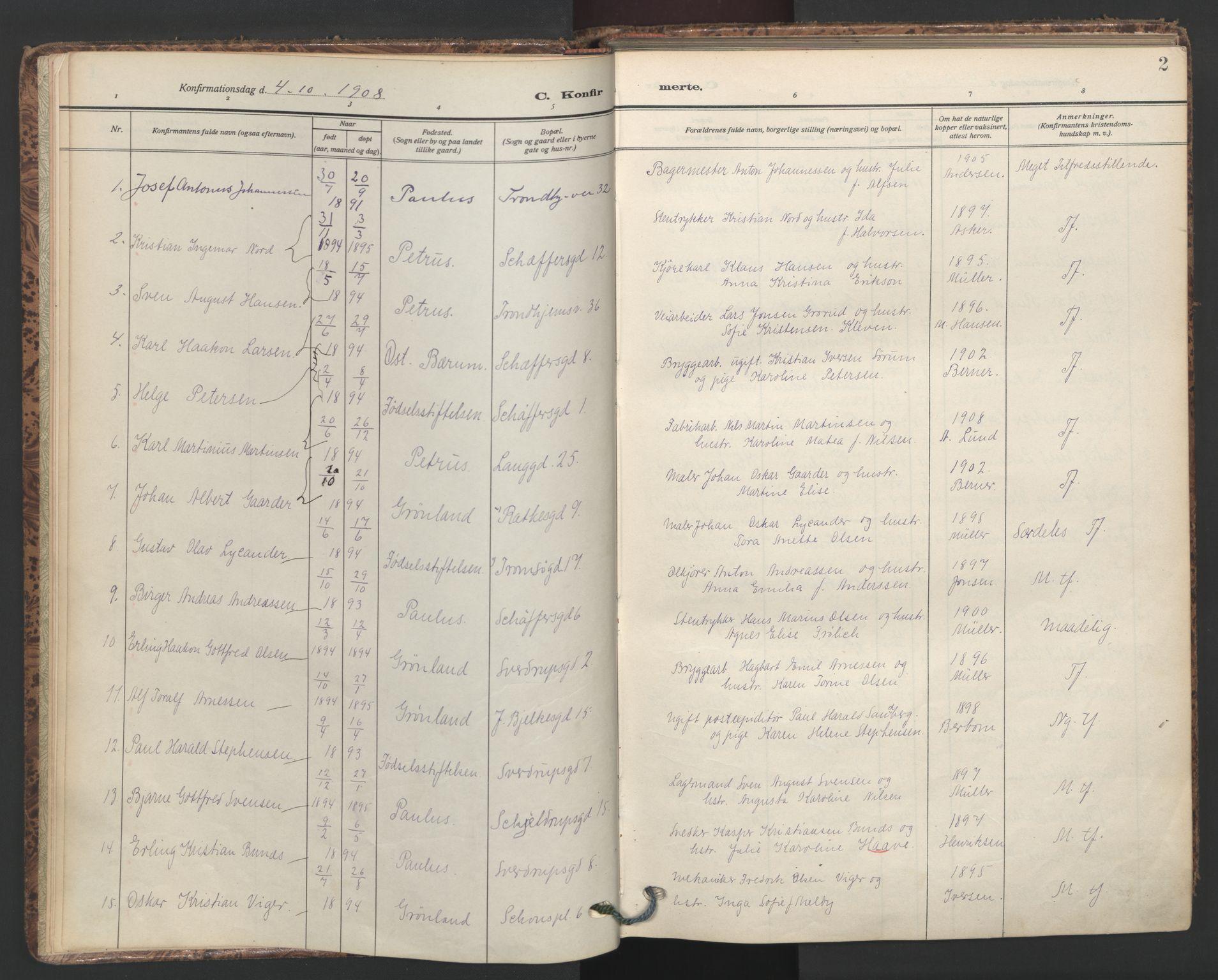 SAO, Petrus prestekontor Kirkebøker, F/Fa/L0011: Ministerialbok nr. 11, 1908-1922, s. 2