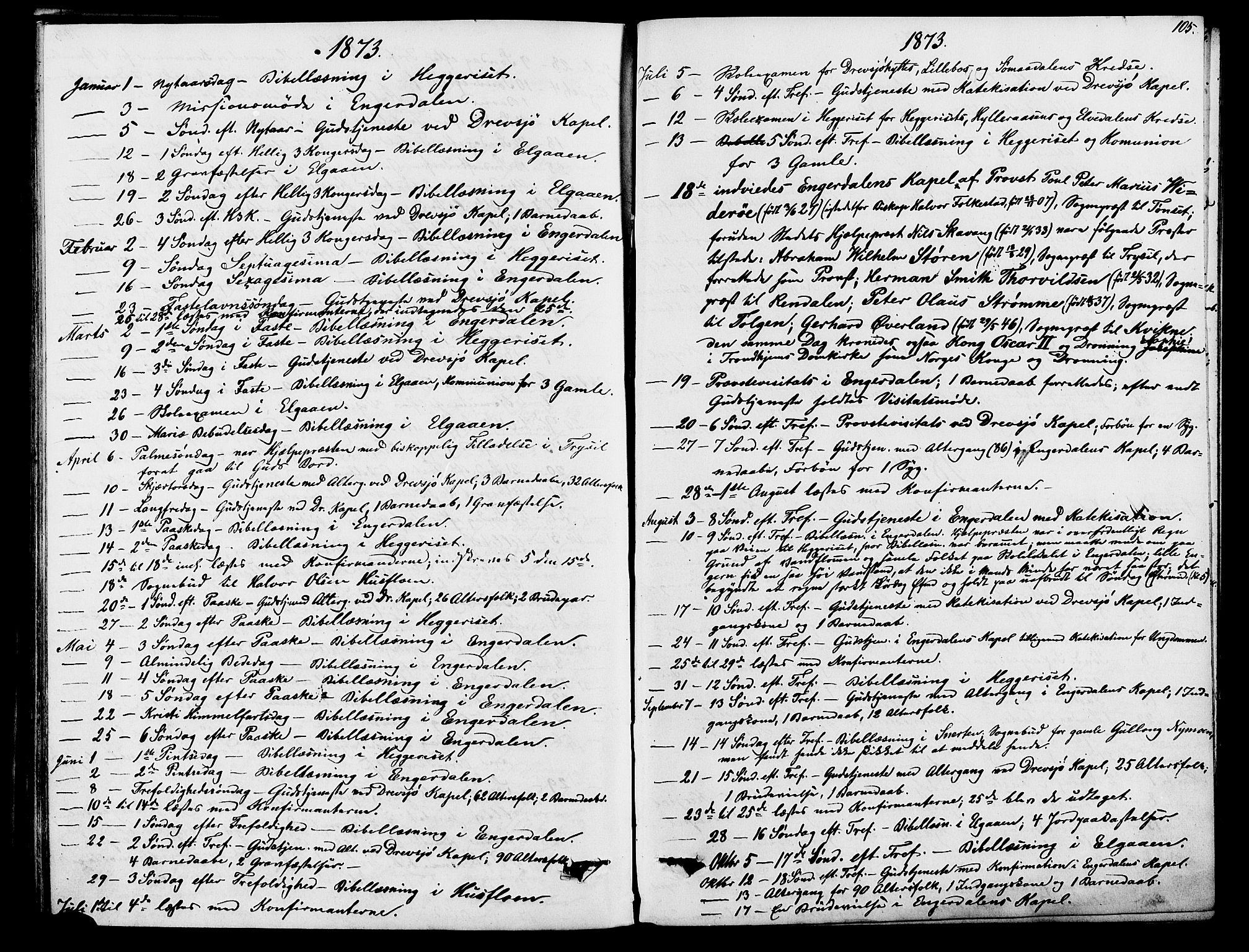 SAH, Rendalen prestekontor, H/Ha/Hab/L0002: Klokkerbok nr. 2, 1858-1880, s. 105