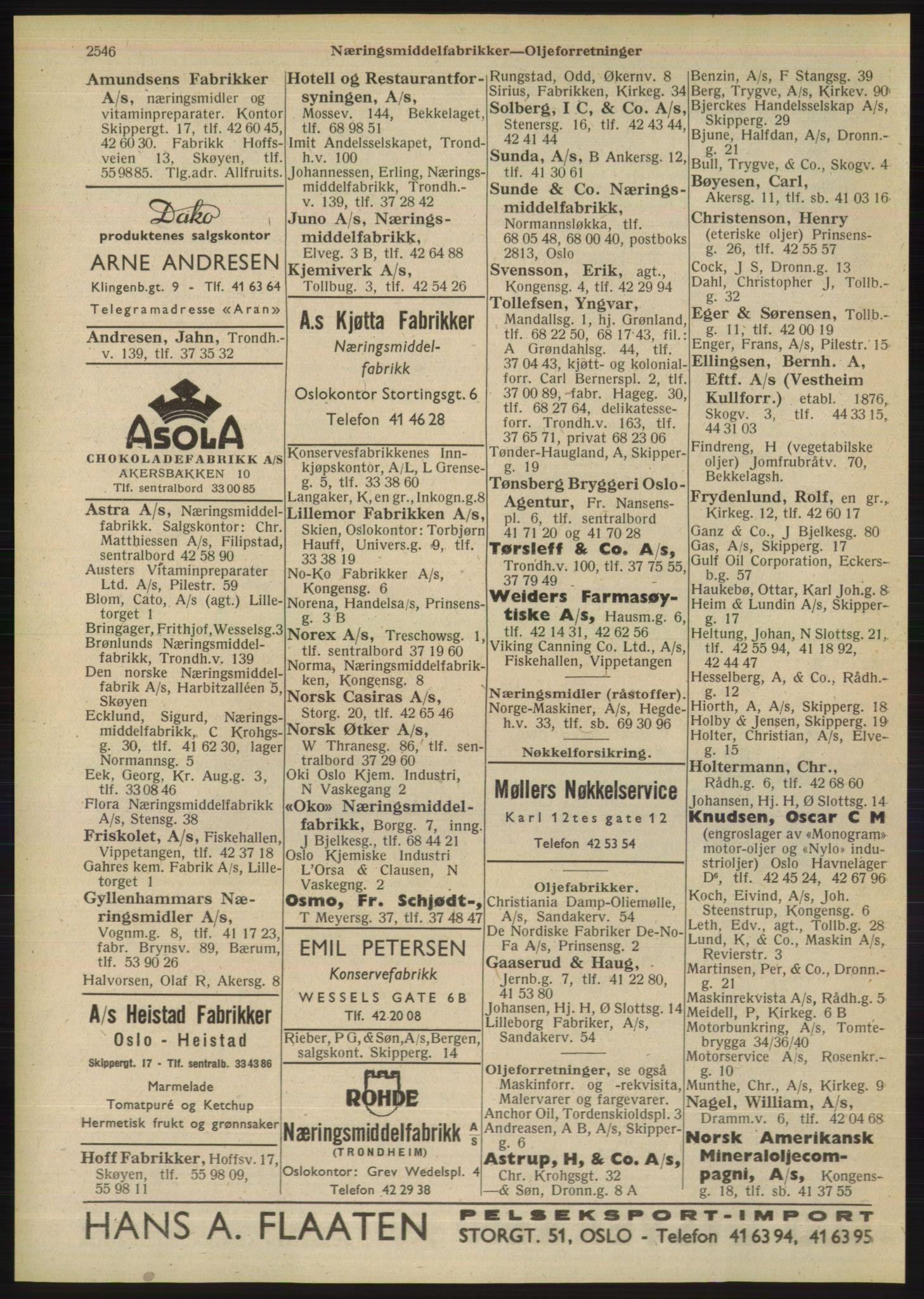 RA, Oslo adressebok (publikasjon)*, 1948, s. 2546