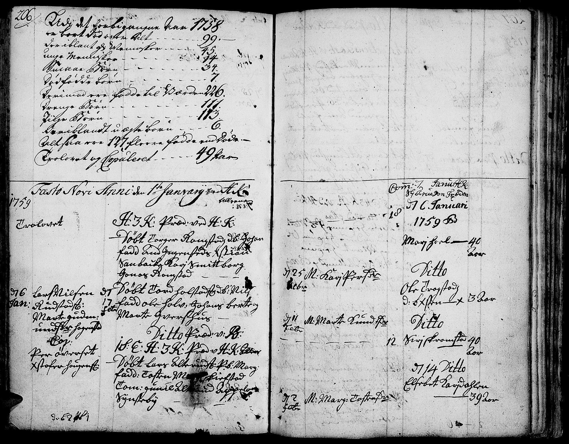 SAH, Toten prestekontor, Ministerialbok nr. 4, 1751-1761, s. 206