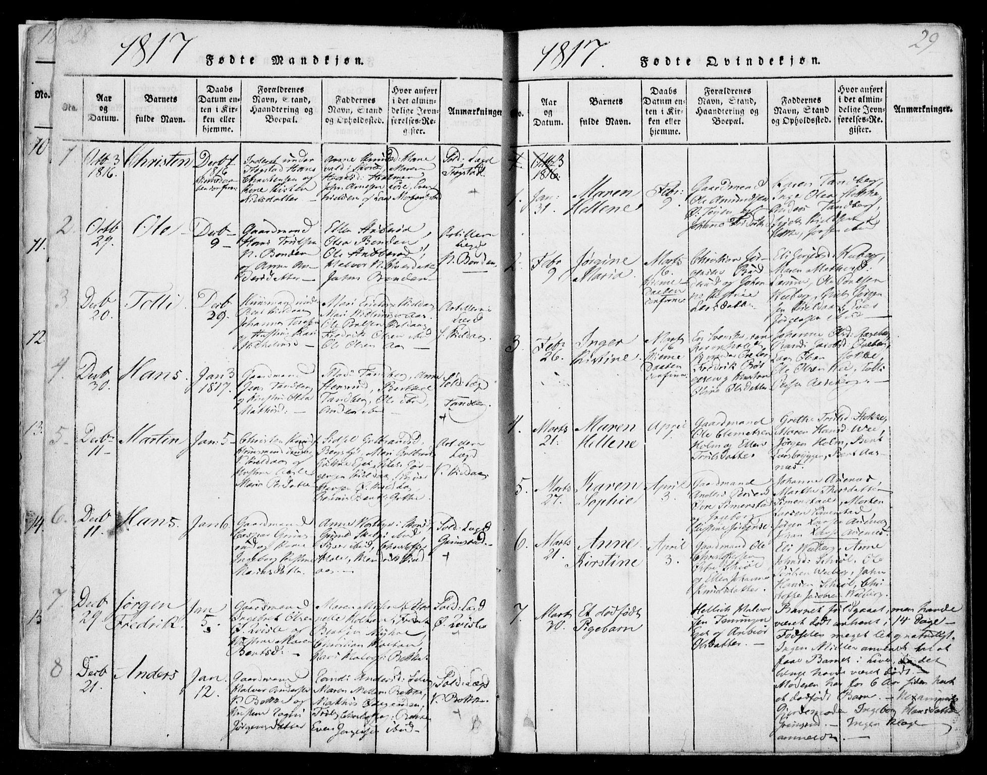 SAKO, Sande Kirkebøker, F/Fa/L0003: Ministerialbok nr. 3, 1814-1847, s. 28-29
