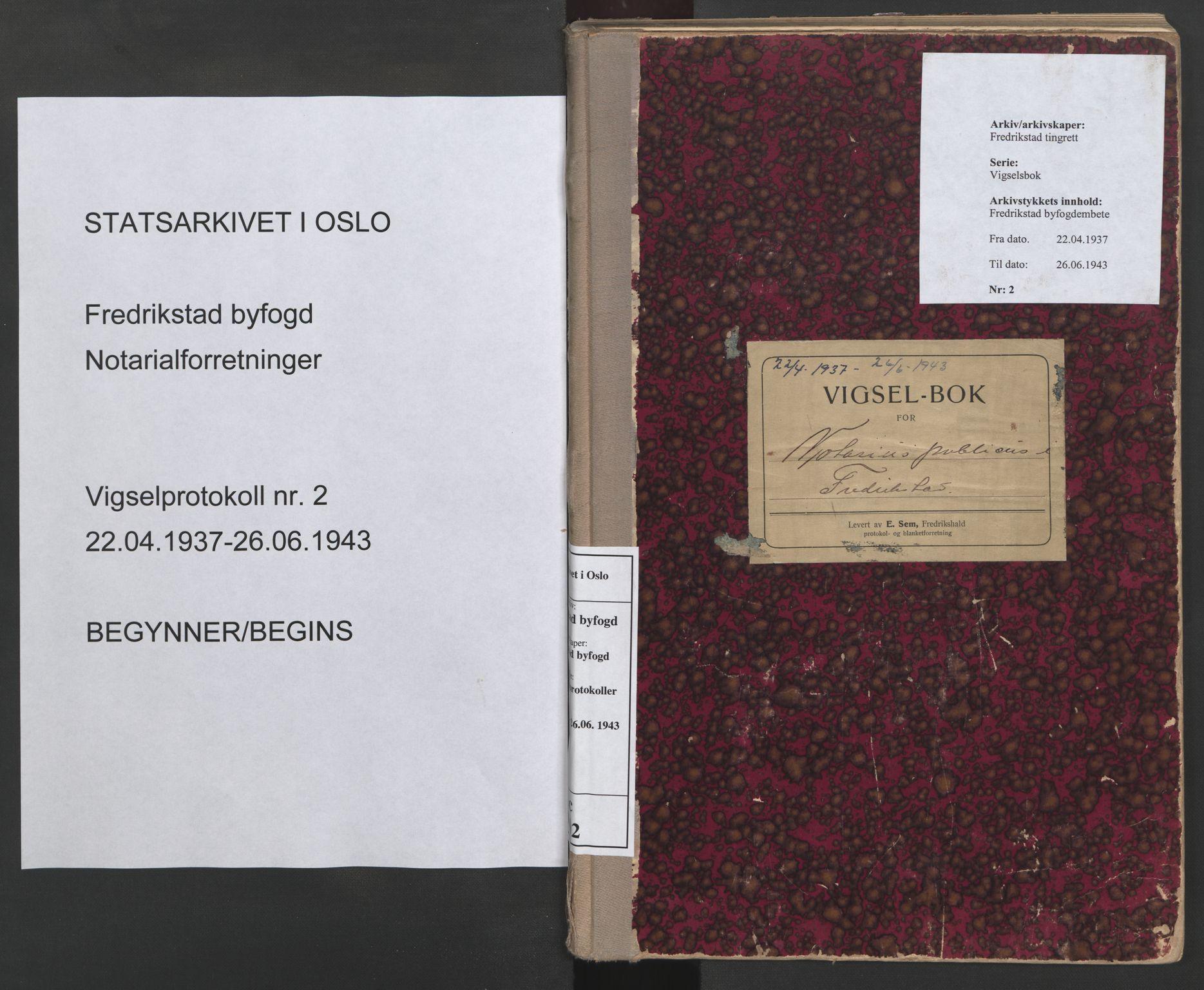 SAO, Fredrikstad byfogd, L/Lc/L0002: Vigselsbok, 1937-1943, s. upaginert