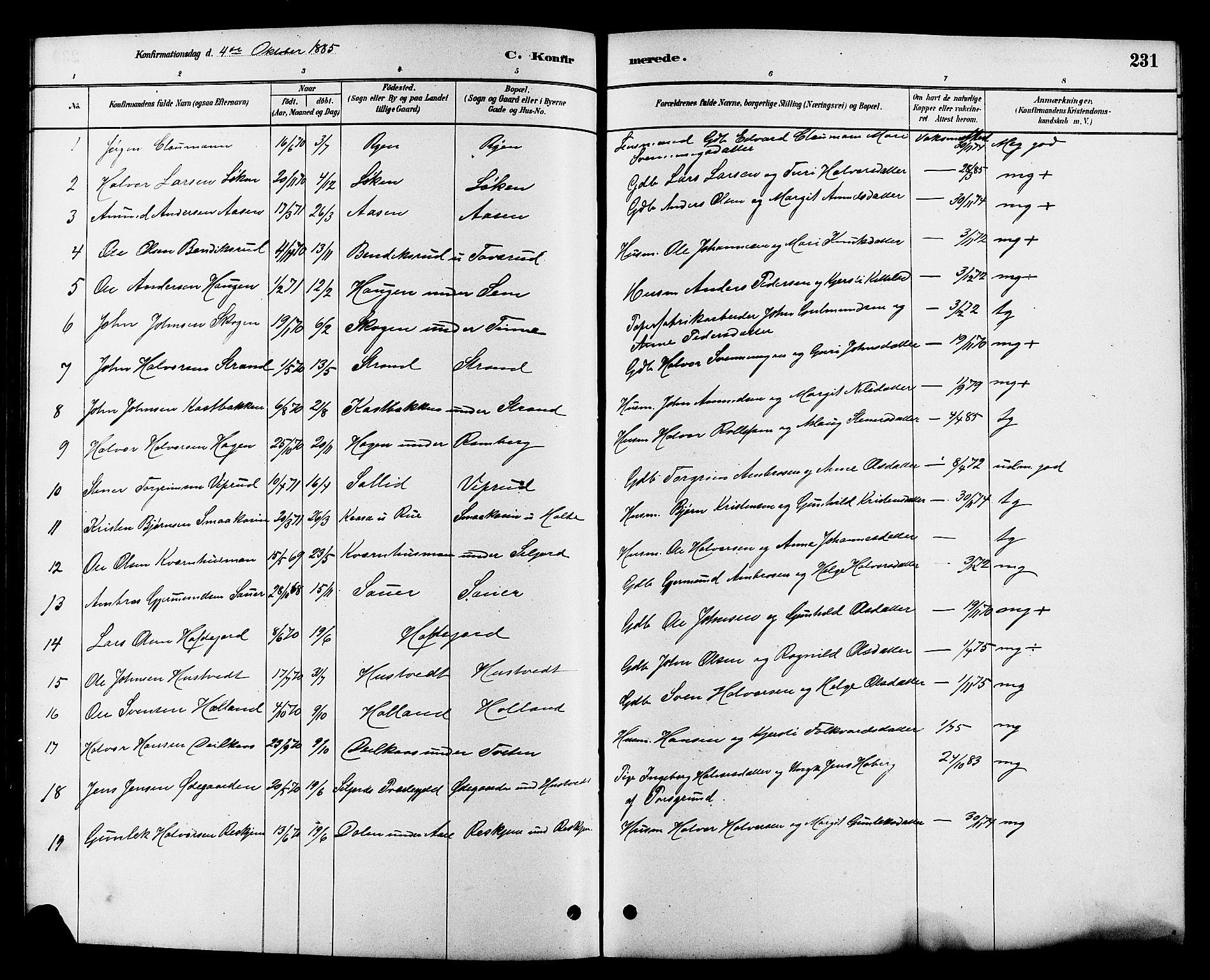 SAKO, Heddal kirkebøker, G/Ga/L0002: Klokkerbok nr. I 2, 1879-1908, s. 231