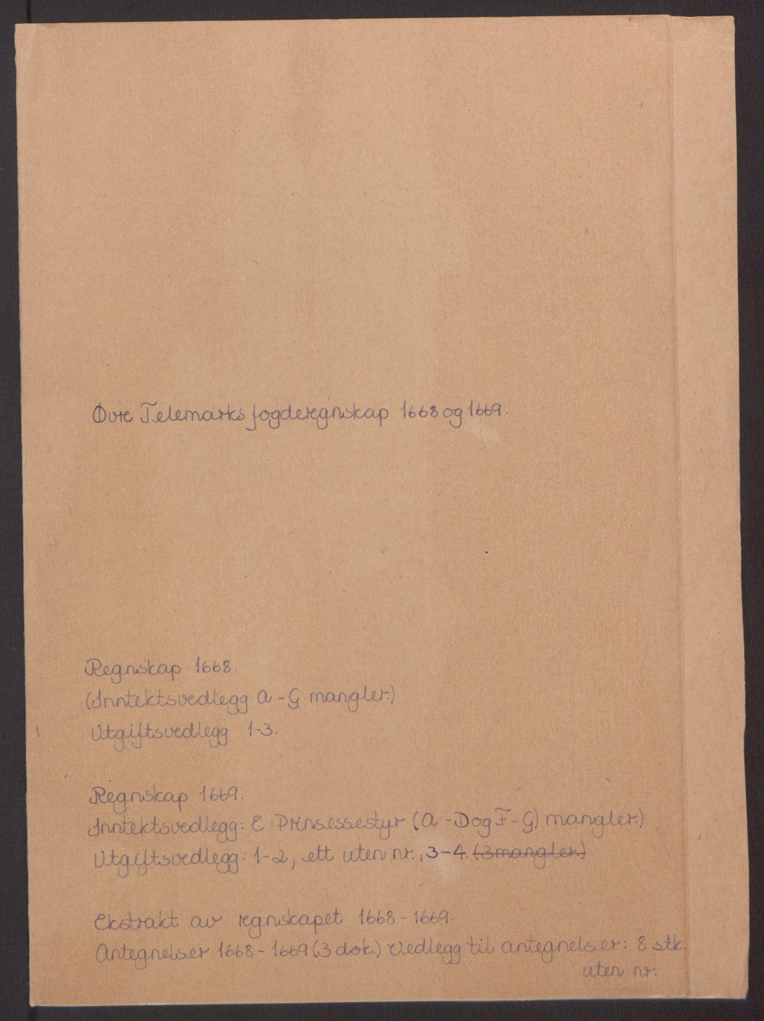 RA, Rentekammeret inntil 1814, Reviderte regnskaper, Fogderegnskap, R35/L2059: Fogderegnskap Øvre og Nedre Telemark, 1668-1670, s. 2