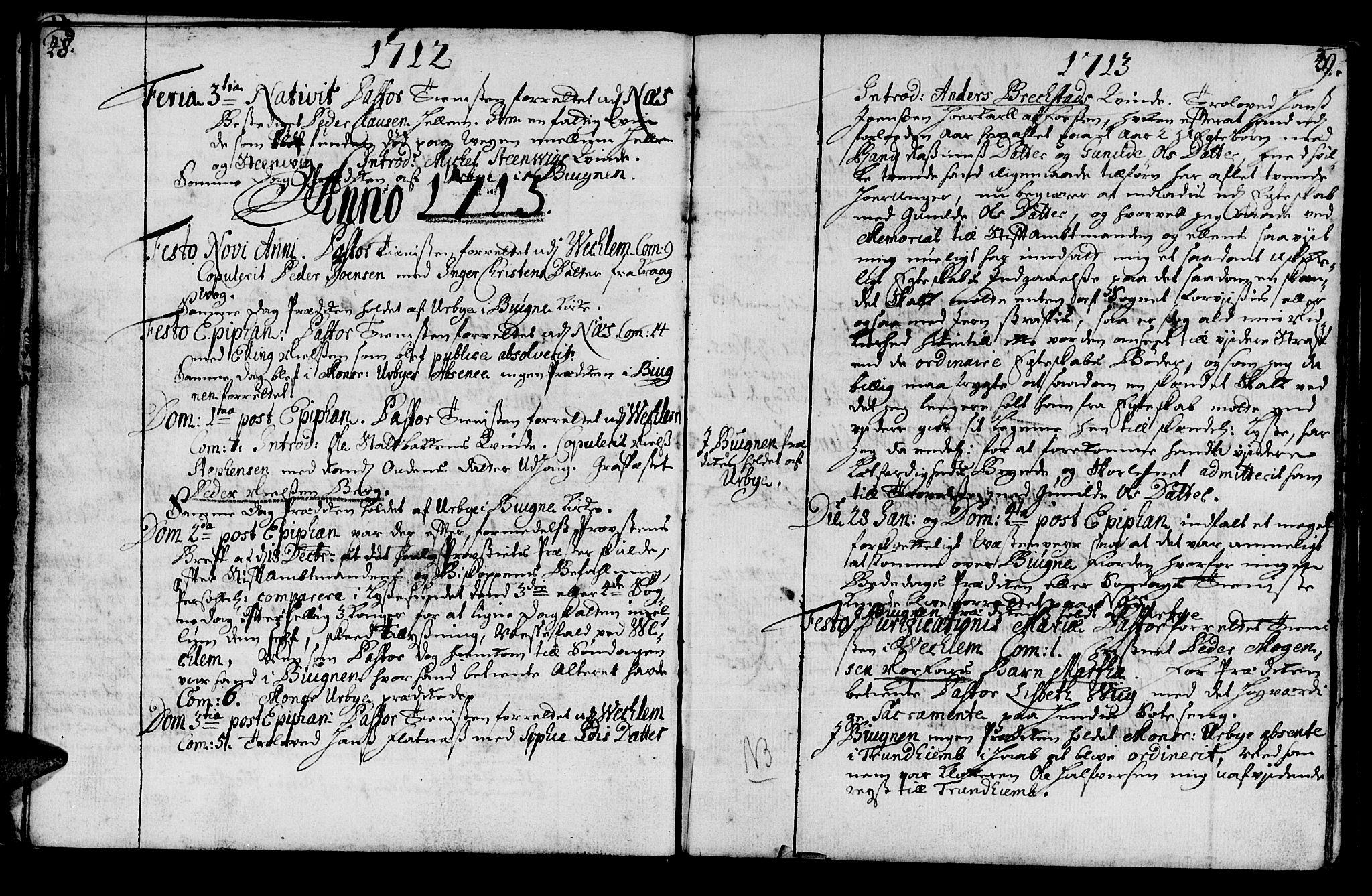 SAT, Ministerialprotokoller, klokkerbøker og fødselsregistre - Sør-Trøndelag, 659/L0731: Ministerialbok nr. 659A01, 1709-1731, s. 48-49