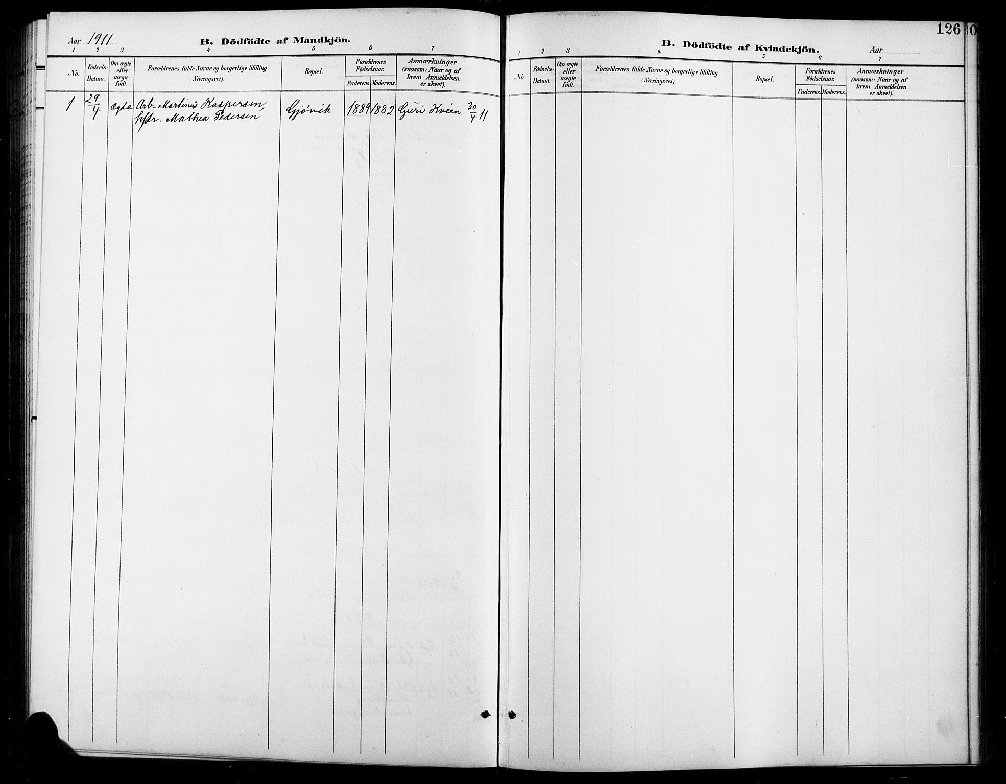 SAH, Vardal prestekontor, H/Ha/Hab/L0012: Klokkerbok nr. 12, 1902-1911, s. 126