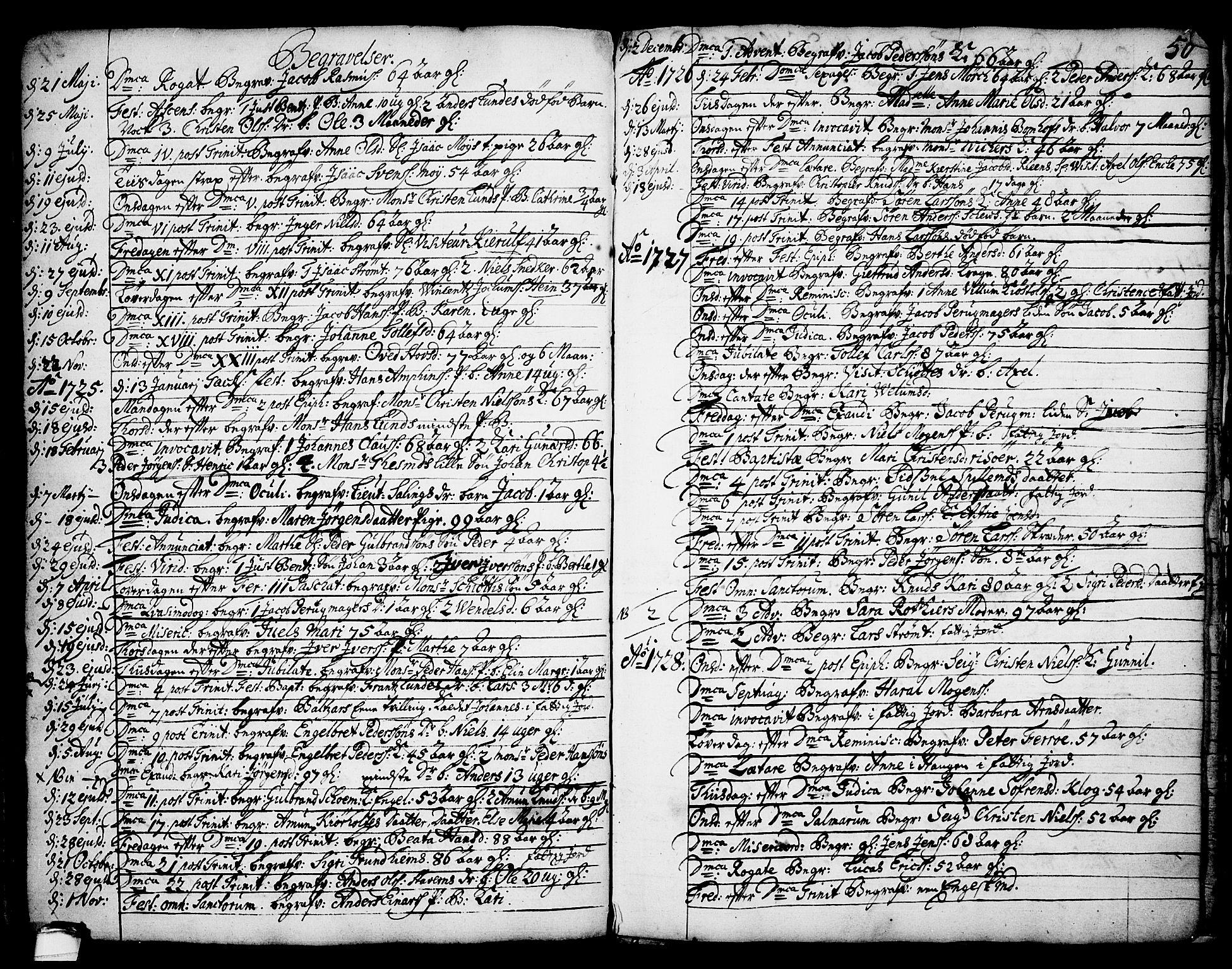 SAKO, Brevik kirkebøker, F/Fa/L0002: Ministerialbok nr. 2, 1720-1764, s. 50