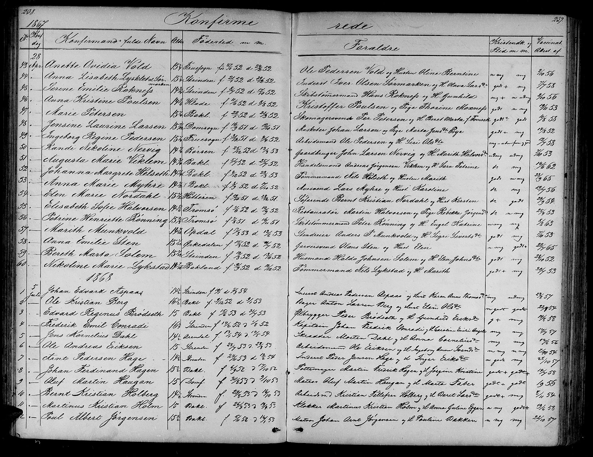 SAT, Ministerialprotokoller, klokkerbøker og fødselsregistre - Sør-Trøndelag, 604/L0219: Klokkerbok nr. 604C02, 1851-1869, s. 238-239