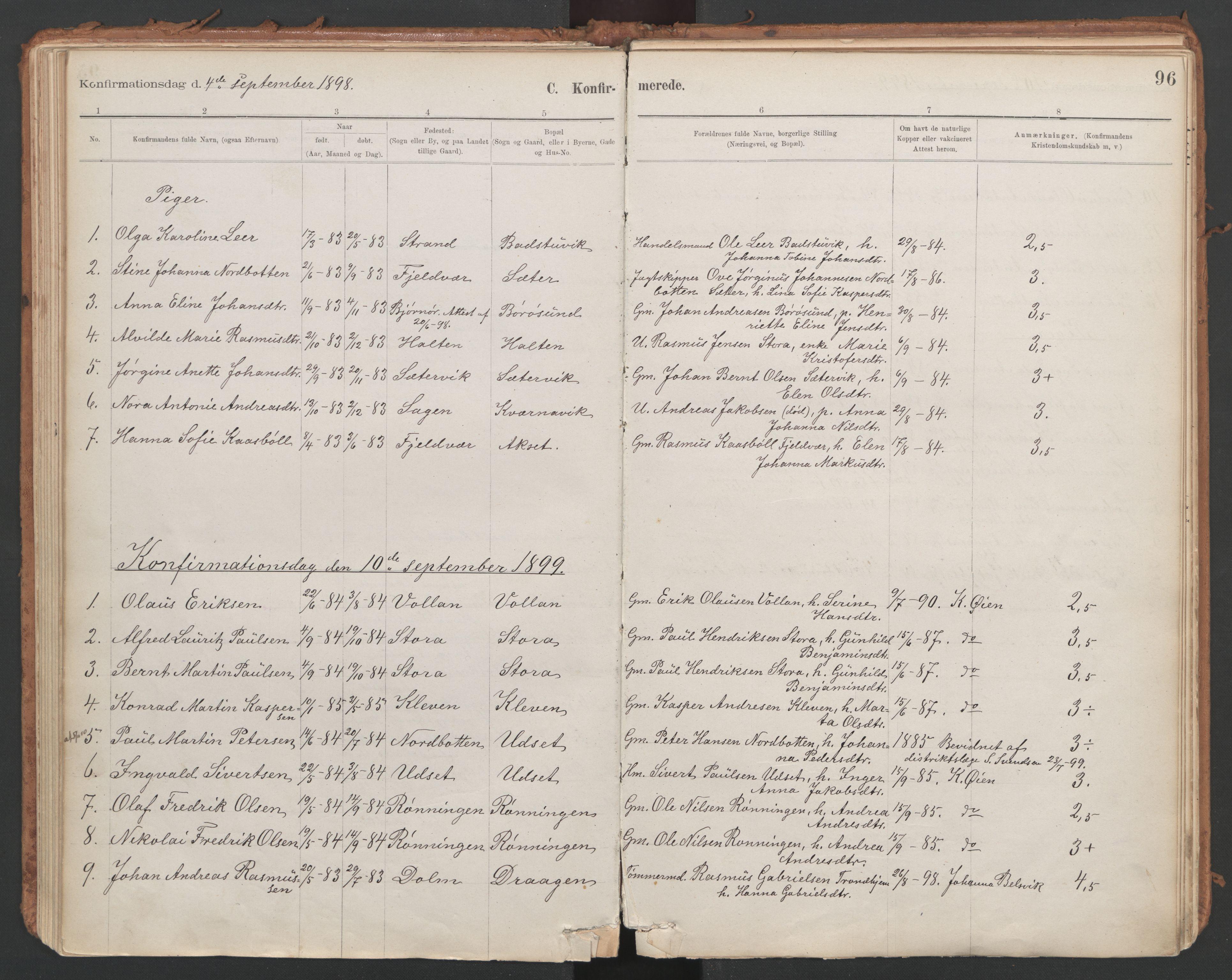 SAT, Ministerialprotokoller, klokkerbøker og fødselsregistre - Sør-Trøndelag, 639/L0572: Ministerialbok nr. 639A01, 1890-1920, s. 96