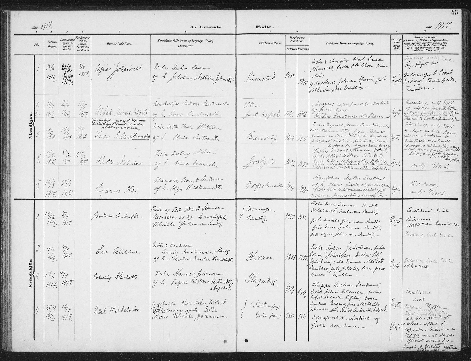 SAT, Ministerialprotokoller, klokkerbøker og fødselsregistre - Sør-Trøndelag, 657/L0709: Ministerialbok nr. 657A10, 1905-1919, s. 45